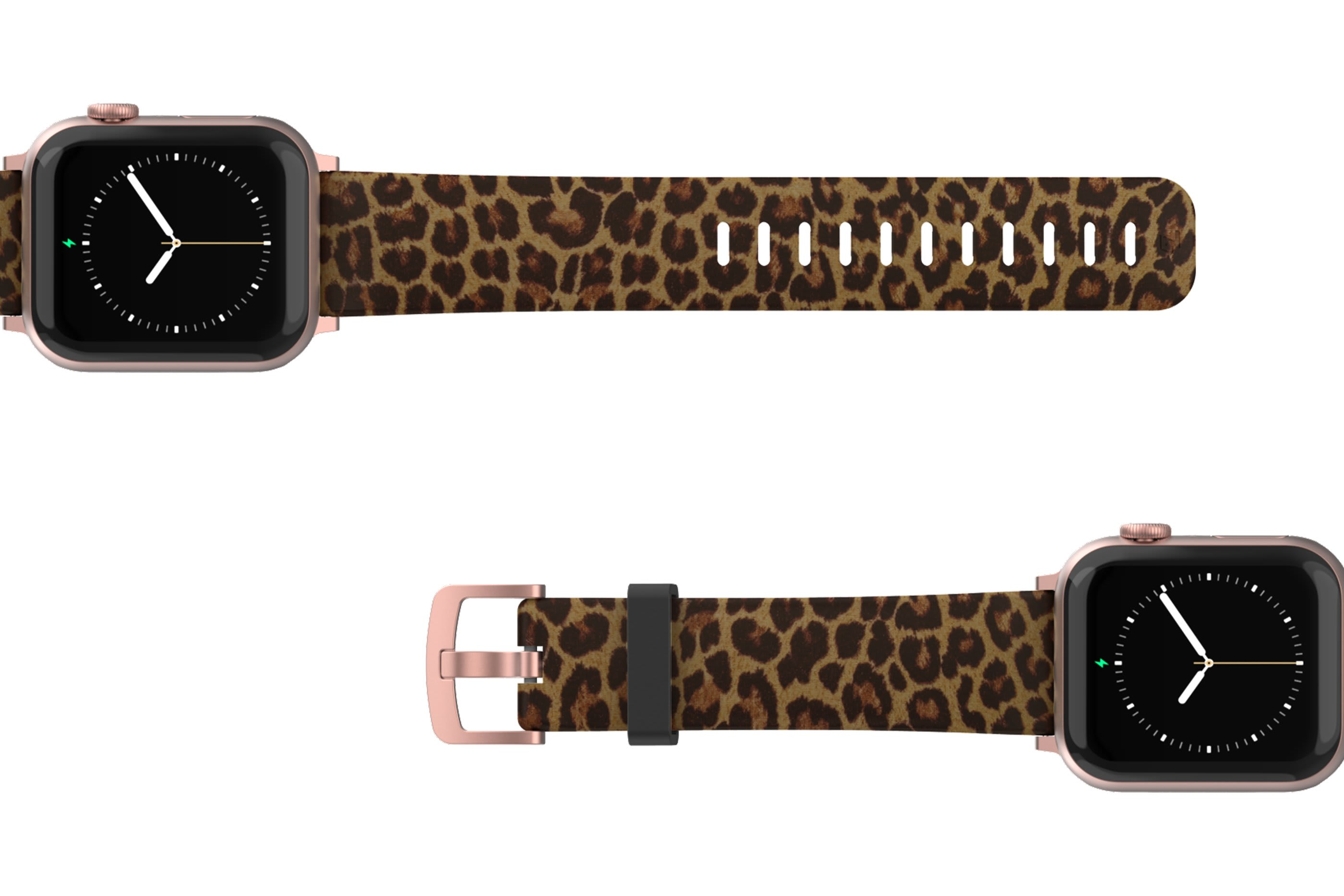 Leopard Apple Watch Band with rose gold hardware viewed top down