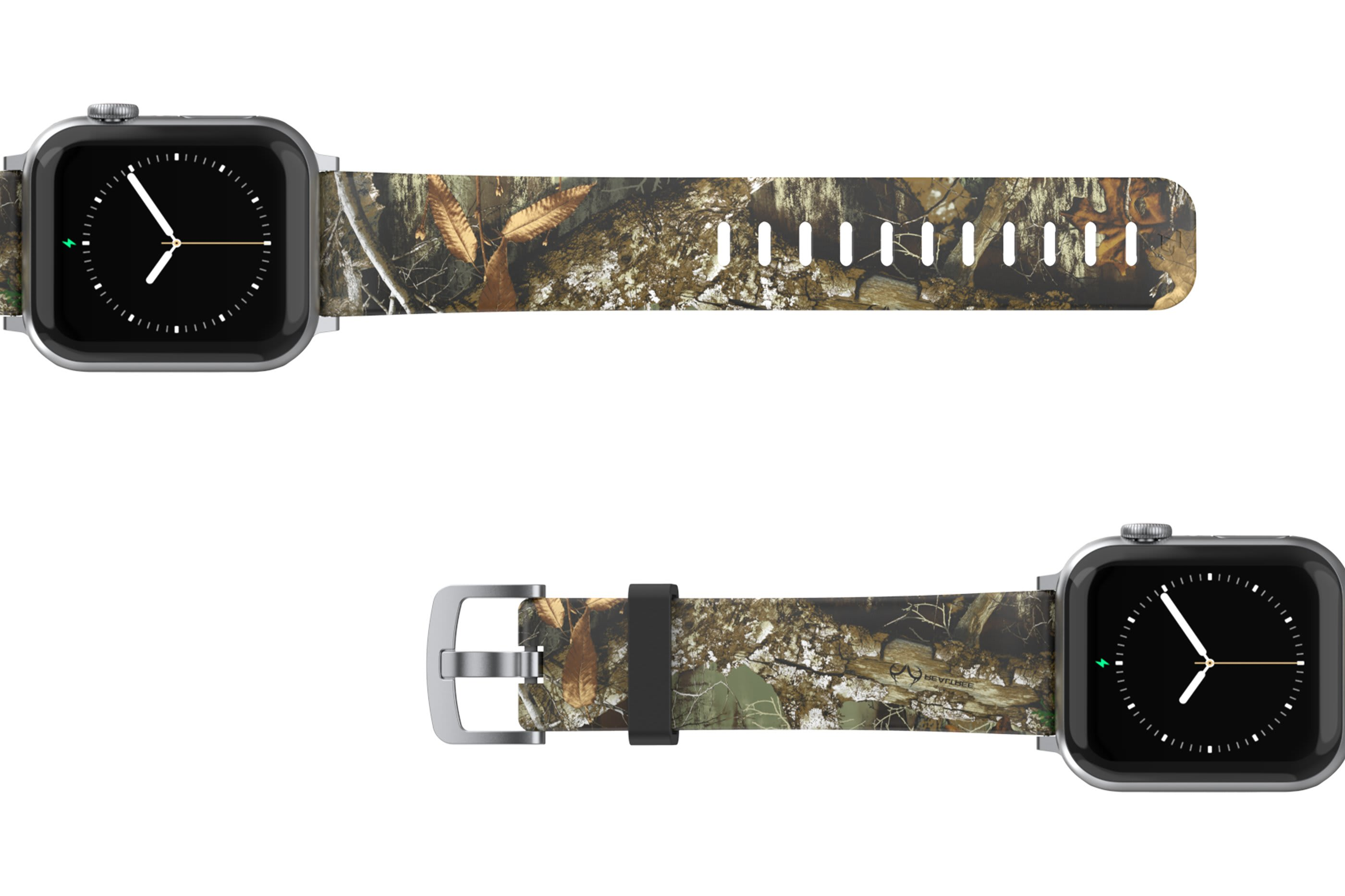 Realtree Edge Apple Watch Band with gray hardware viewed bottom up