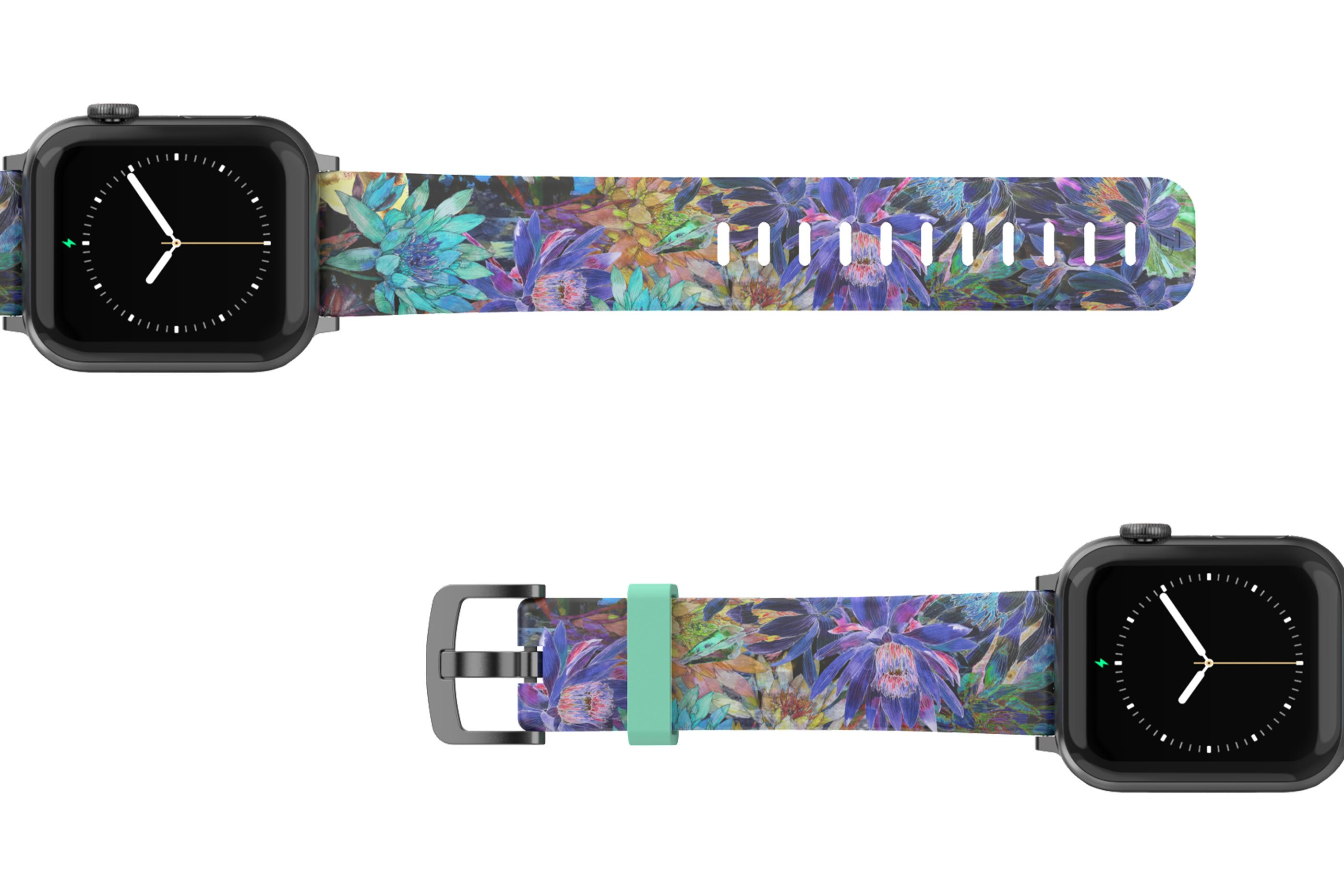 Twilight Blossom Apple Watch Band with gray hardware viewed top down