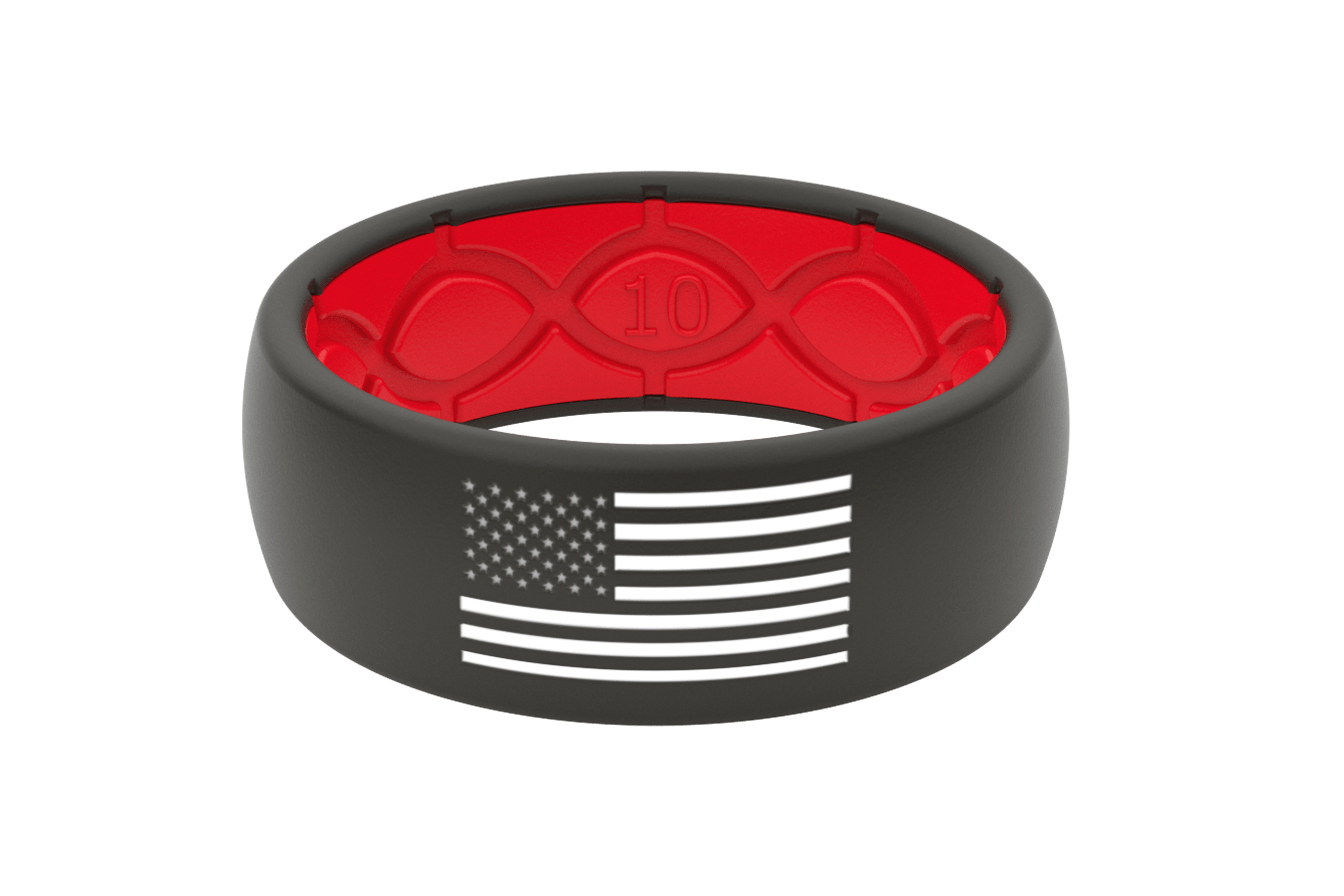 Groove Hero Black and white flag ring viewed front on