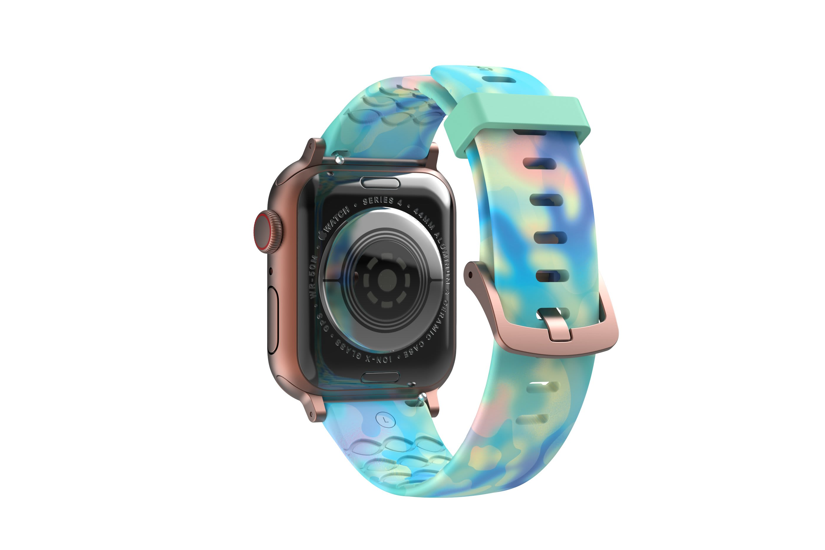 Opal -  apple watch band with rose gold hardware viewed from top down