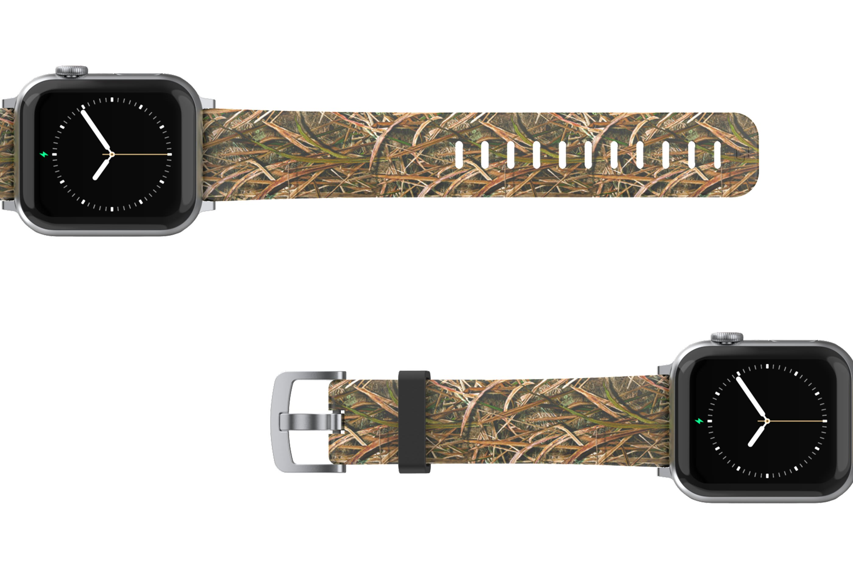 Mossy Oak Blades Apple Watch Band with silver hardware viewed top down