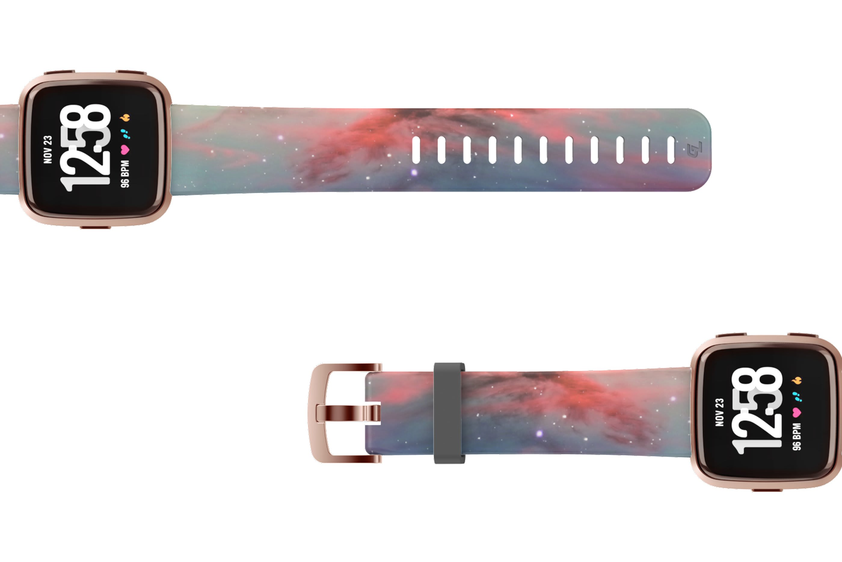 Cirrus Fitbit Versa watch band with rose gold hardware viewed top down