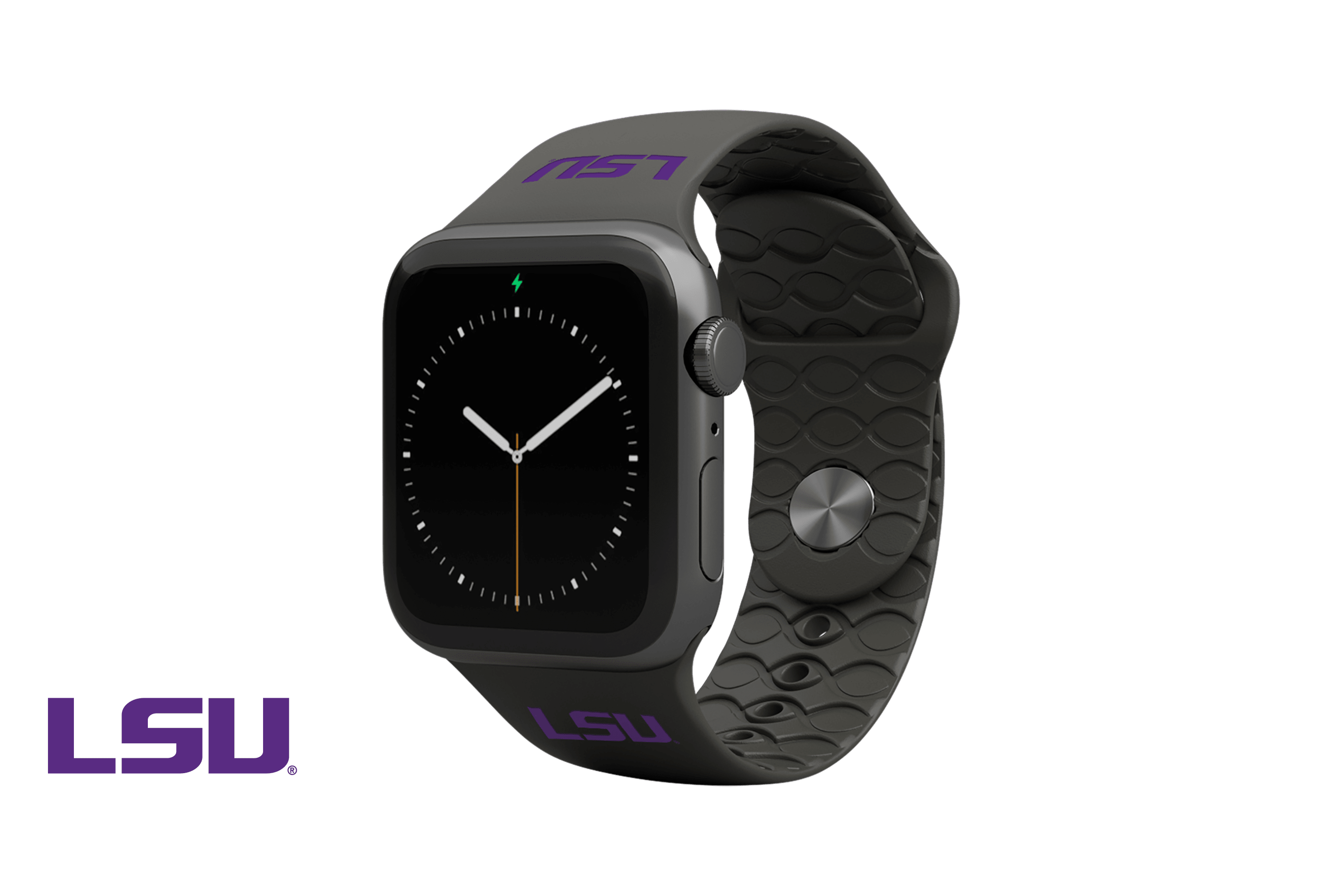 Apple Watch Band College LSU Black with gray hardware viewed front on