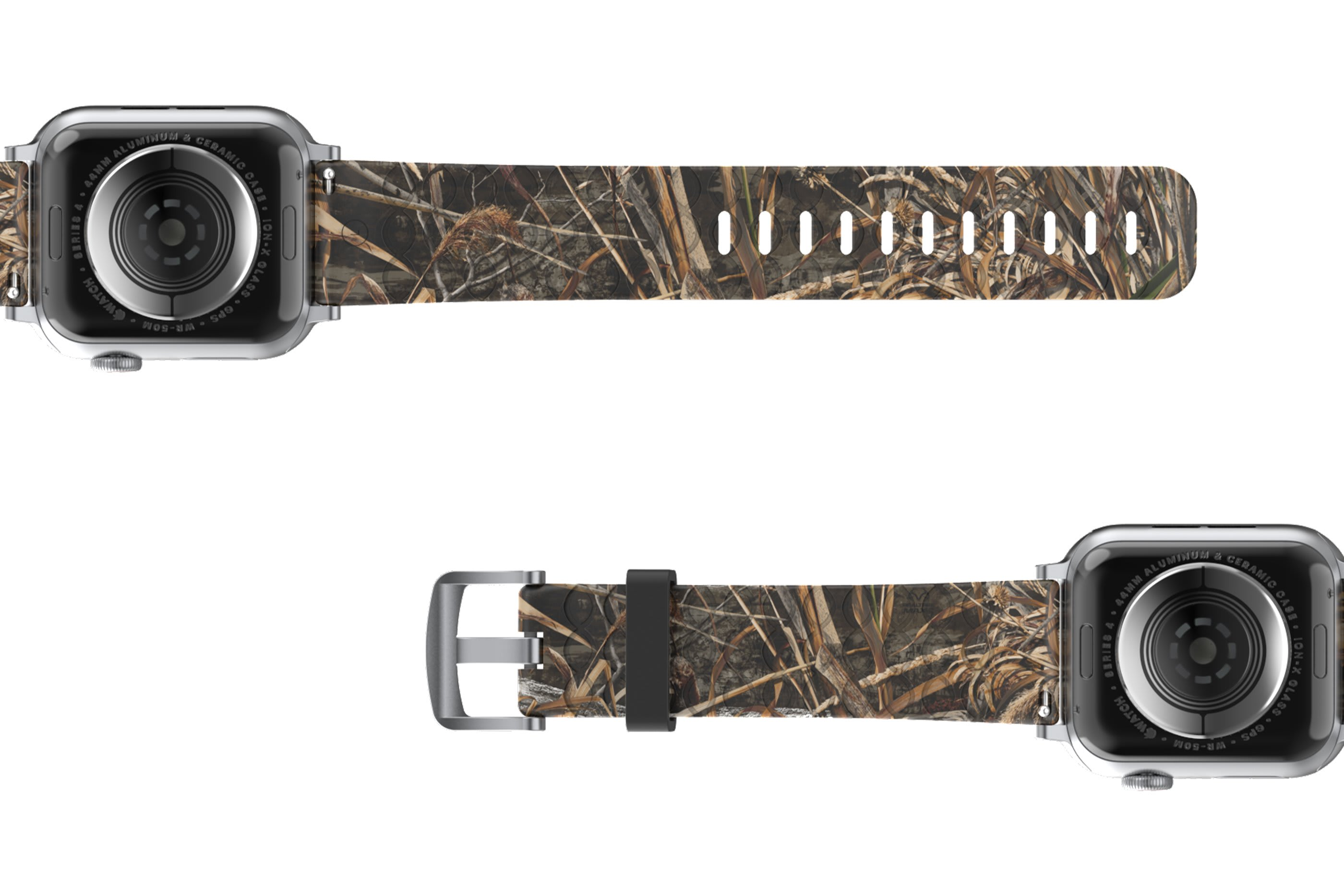 Realtree Max 5 Apple Watch Band with gray hardware viewed bottom up
