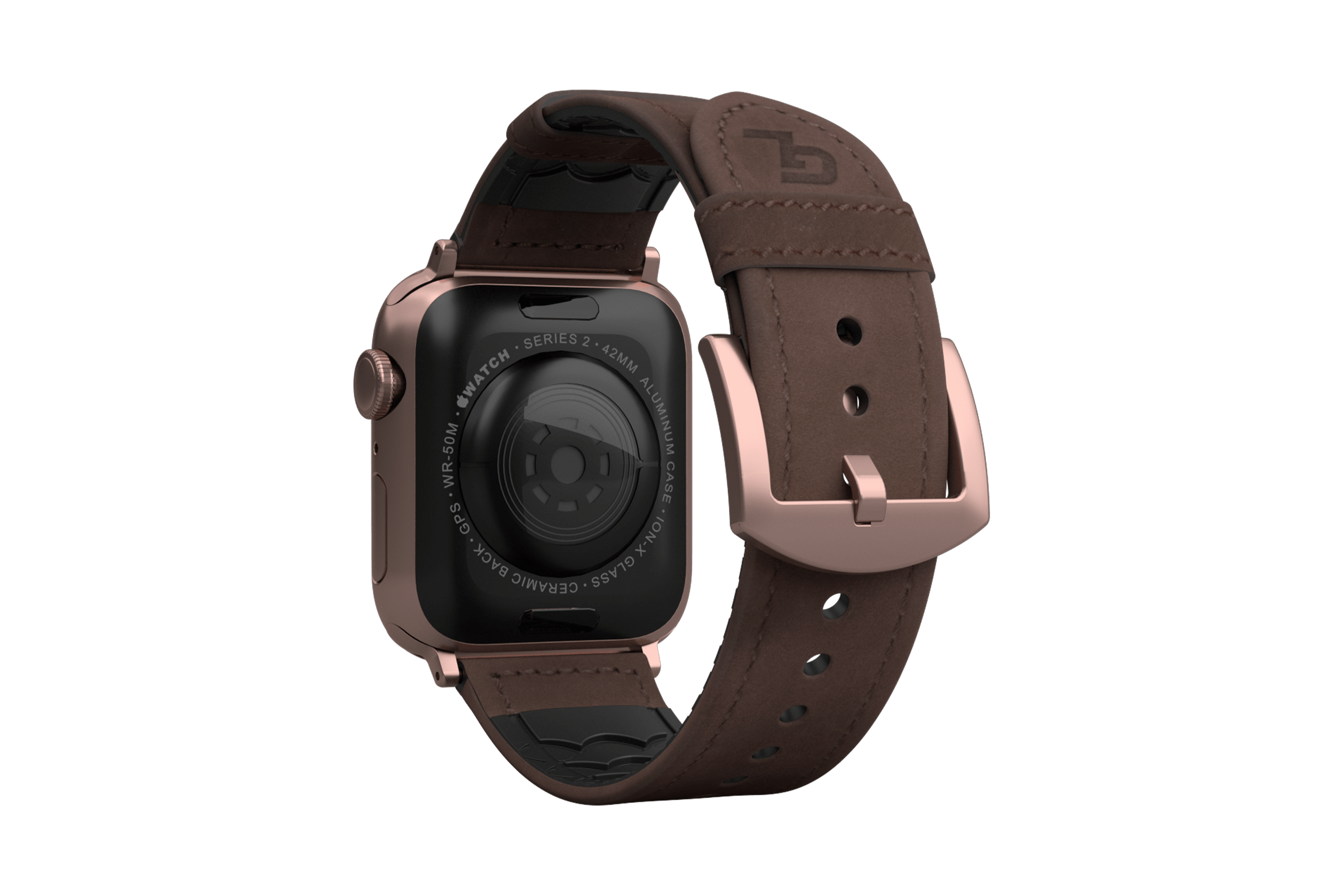 Vulcan Ascent Leather apple watch band with rose gold hardware viewed from top down