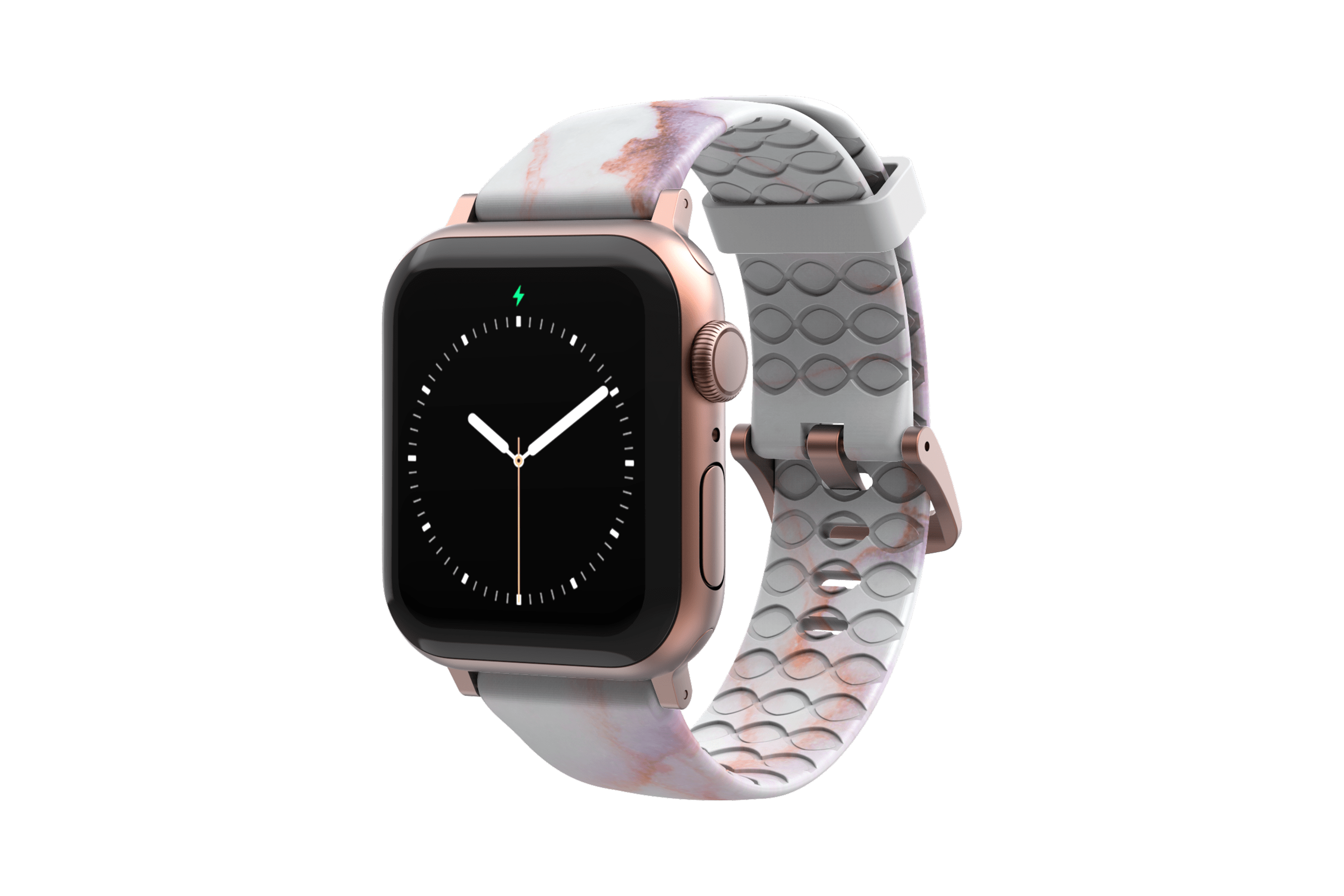 Carrera Marble - Apple Watch Band with rose gold hardware viewed front on
