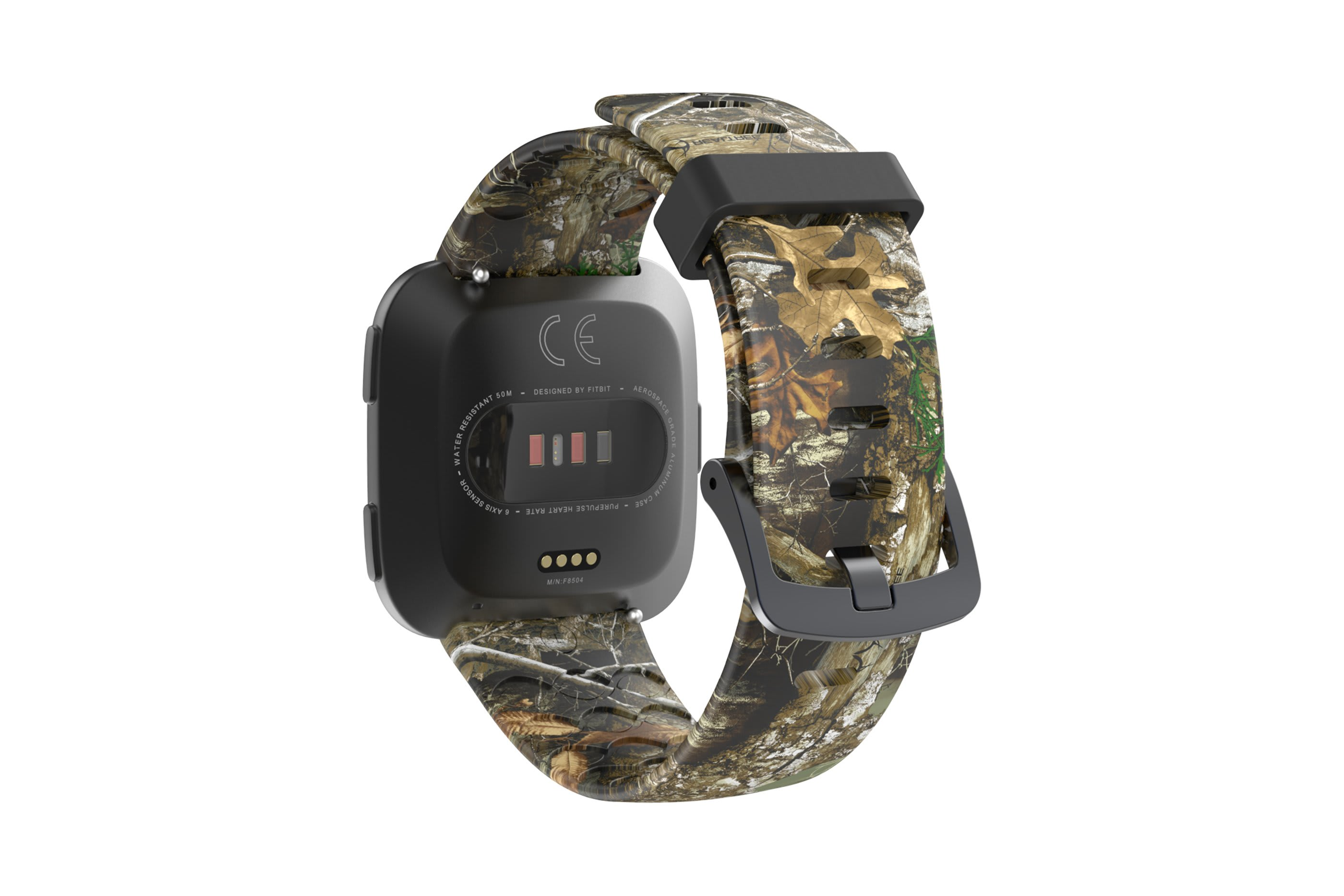 Realtree Edge fitbit versa watch band with gray hardware viewed from rear