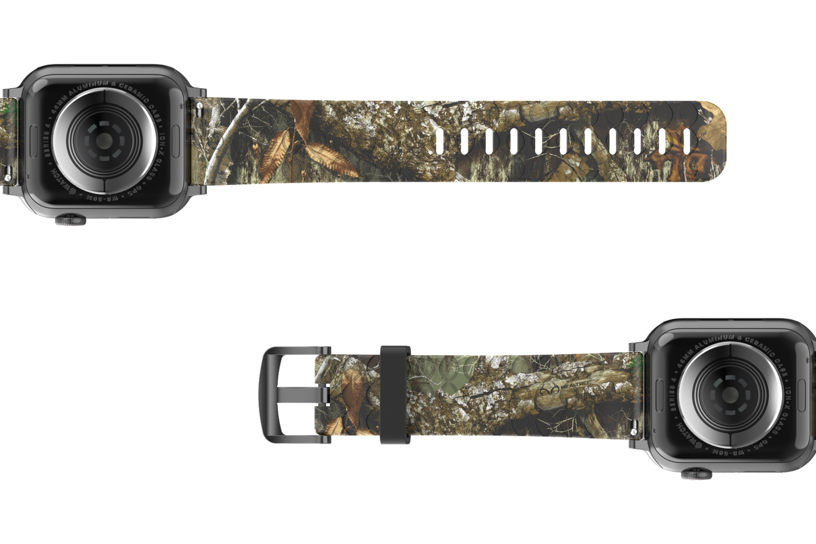 Realtree Edge Apple Watch Band with silver hardware viewed from top down