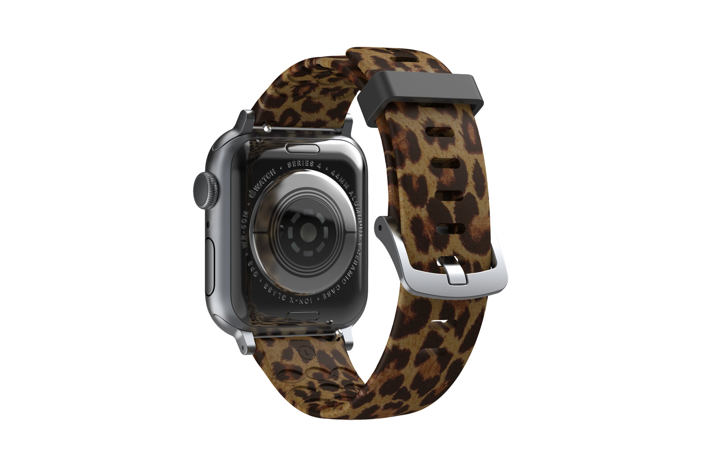 Leopard Apple Watch Band with Silver hardware viewed from rear