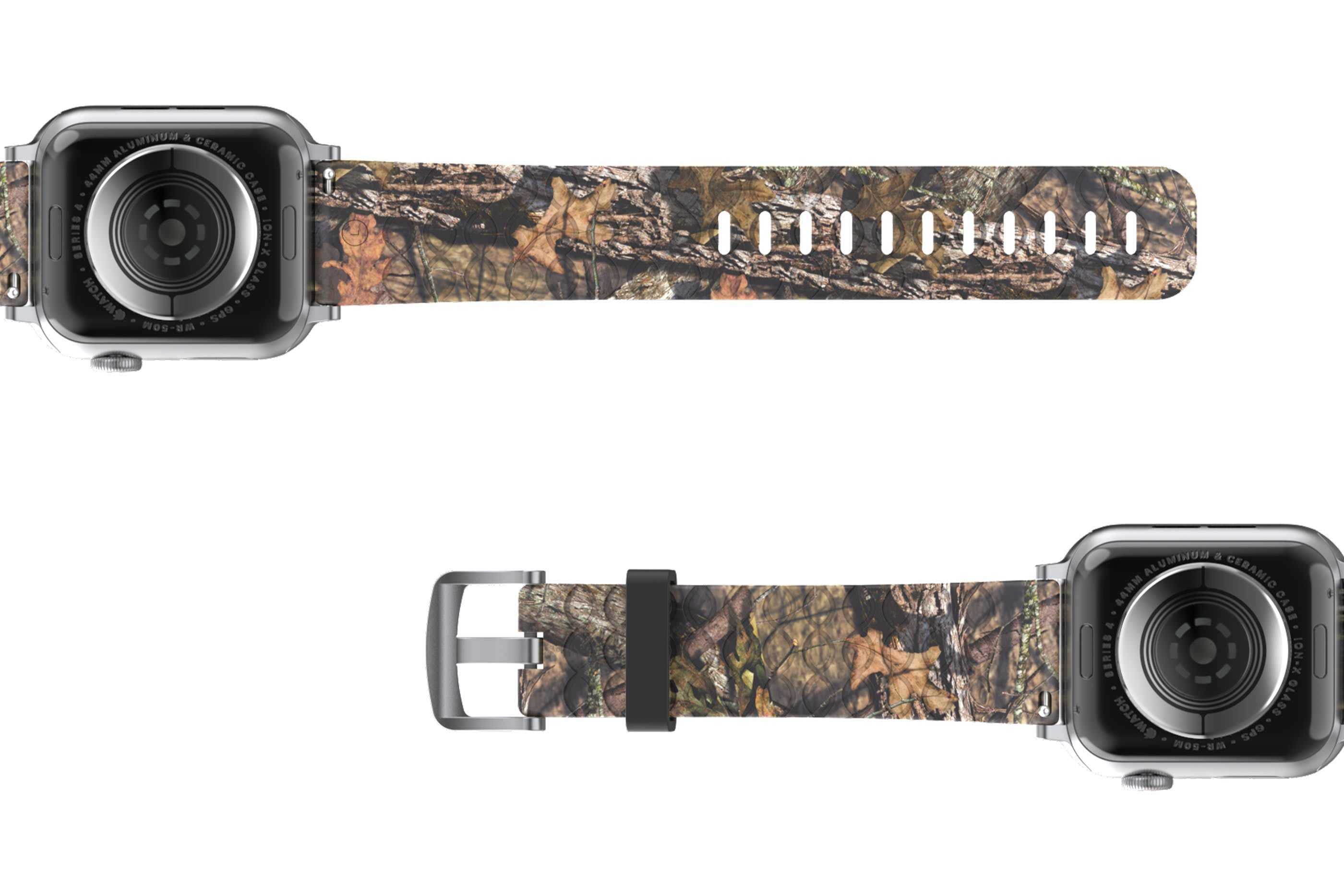 Mossy Oak Breakup Apple Watch Band with Silver hardware viewed bottom up
