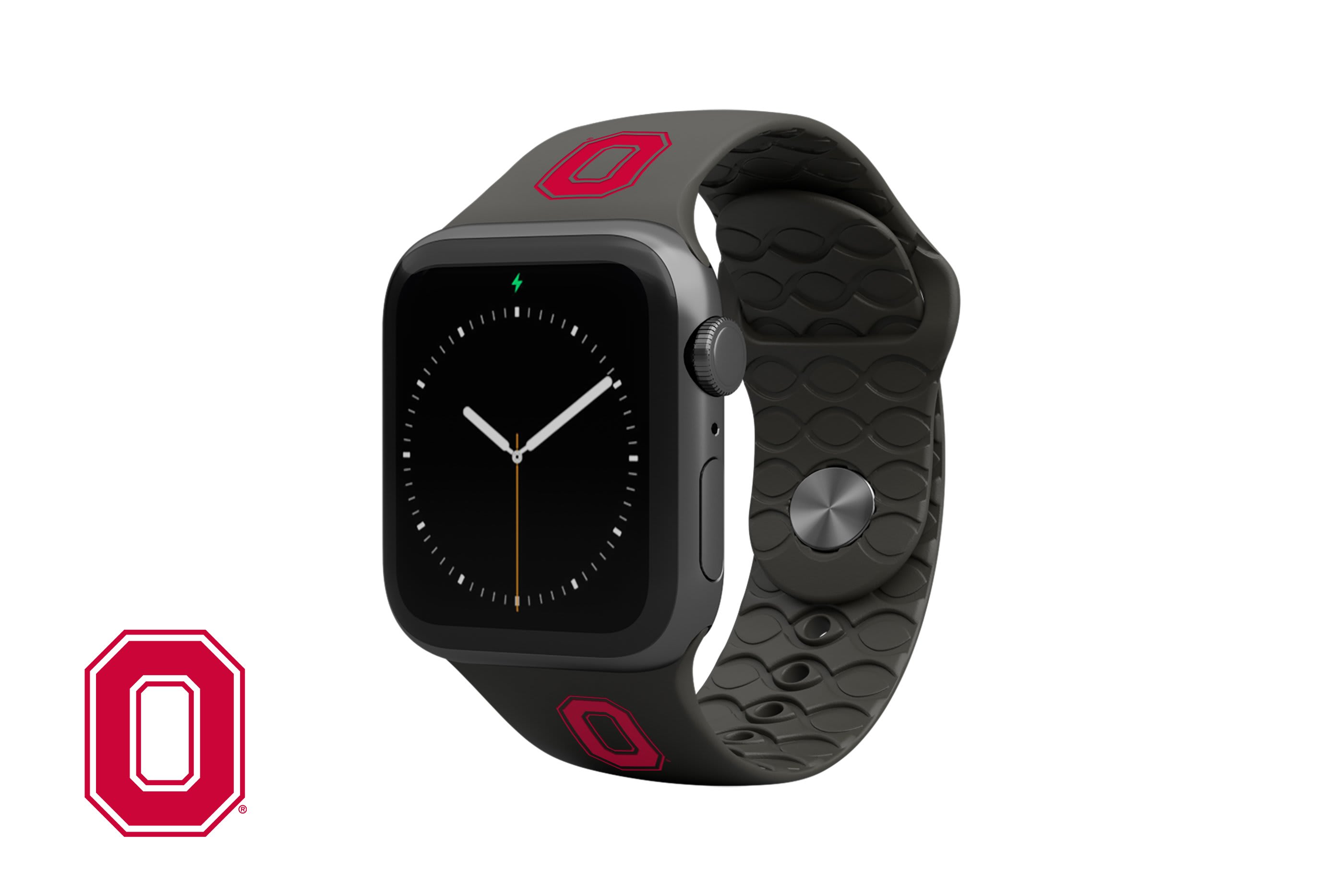 College Ohio State Black Apple Watch Band with gray hardware viewed top down