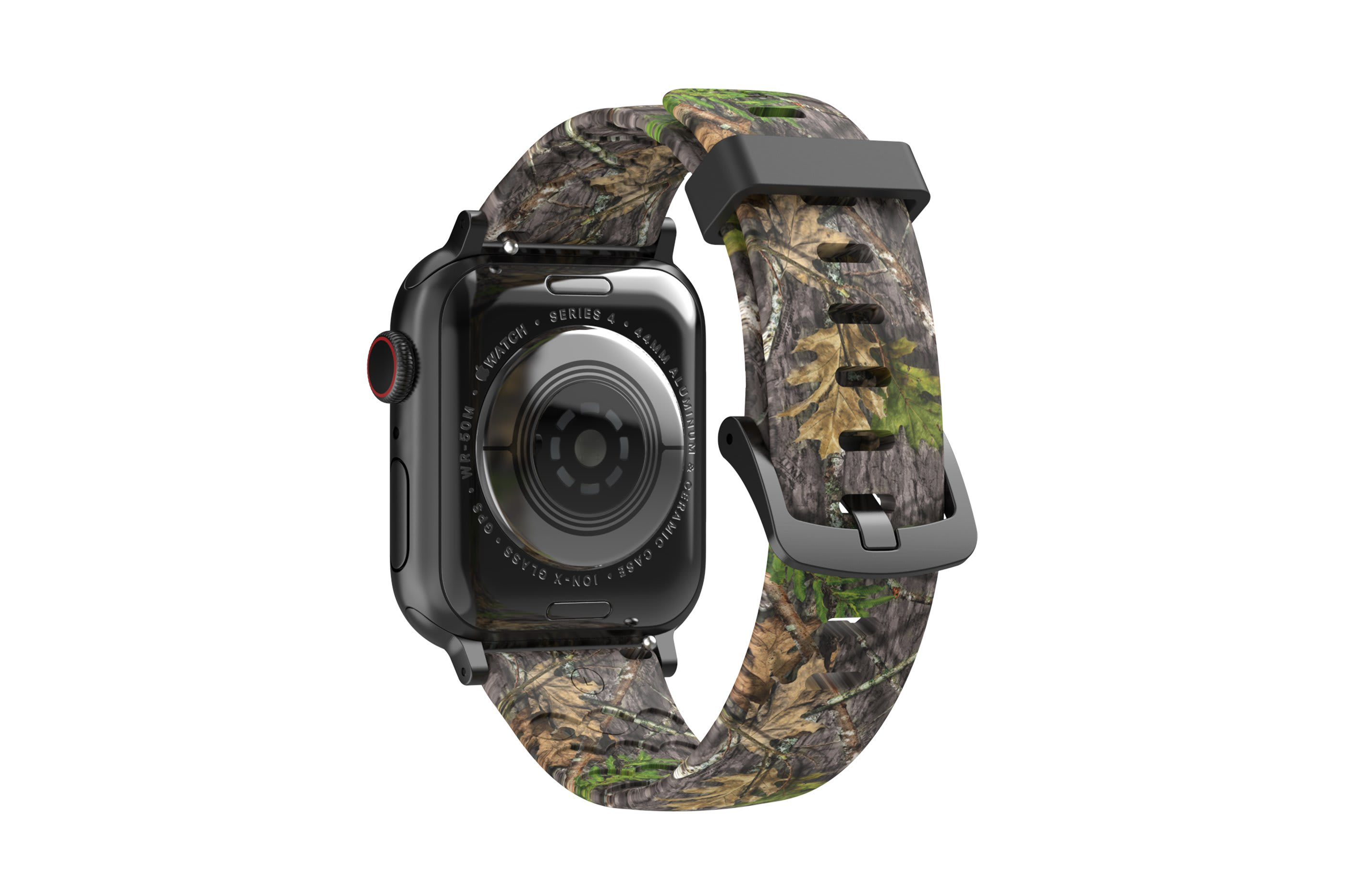 NWTF Mossy Oak Obsession  apple watch band with gray hardware viewed from rear