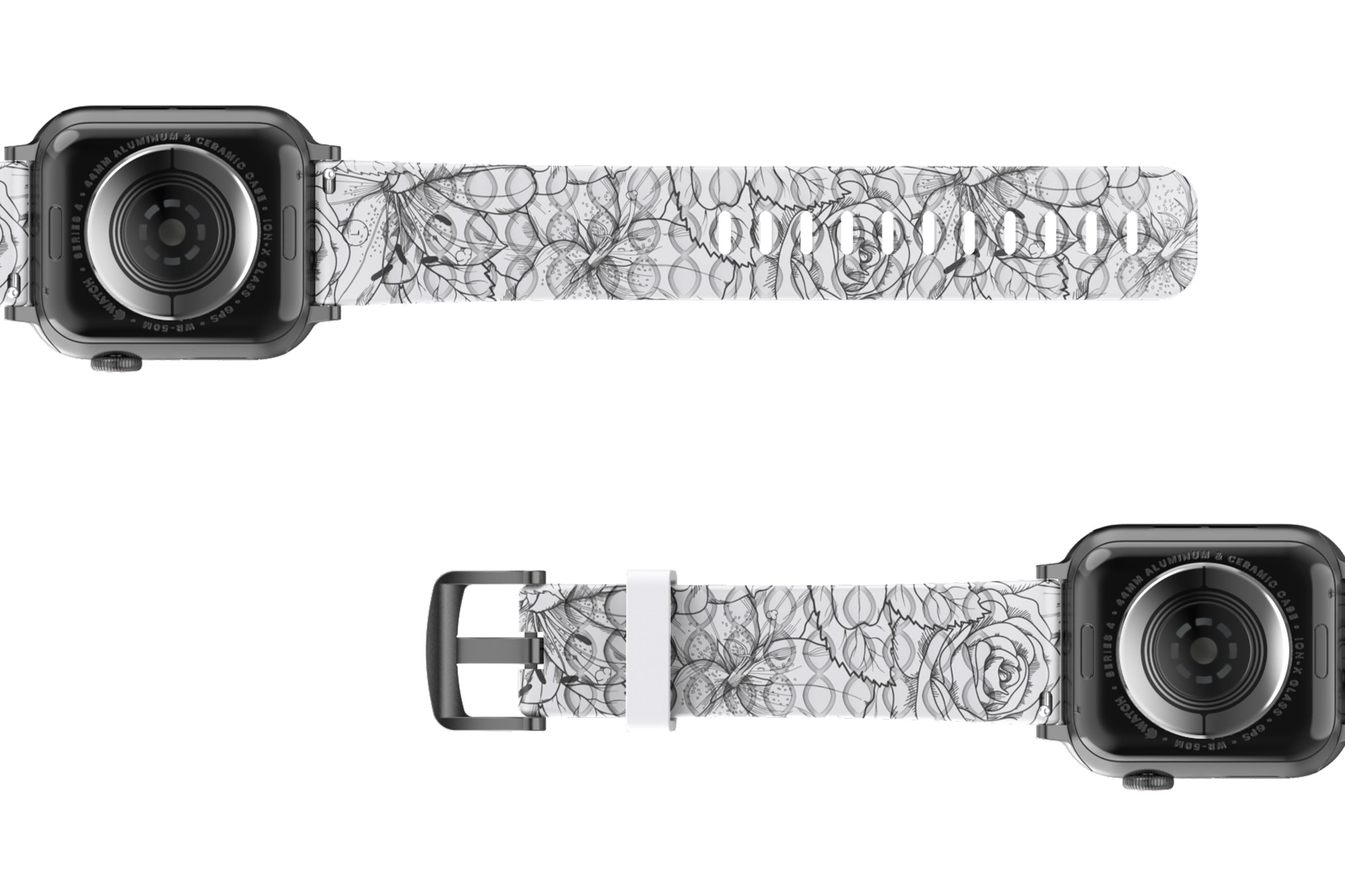 Winter Rose Apple Watch Band with gray hardware viewed bottom up