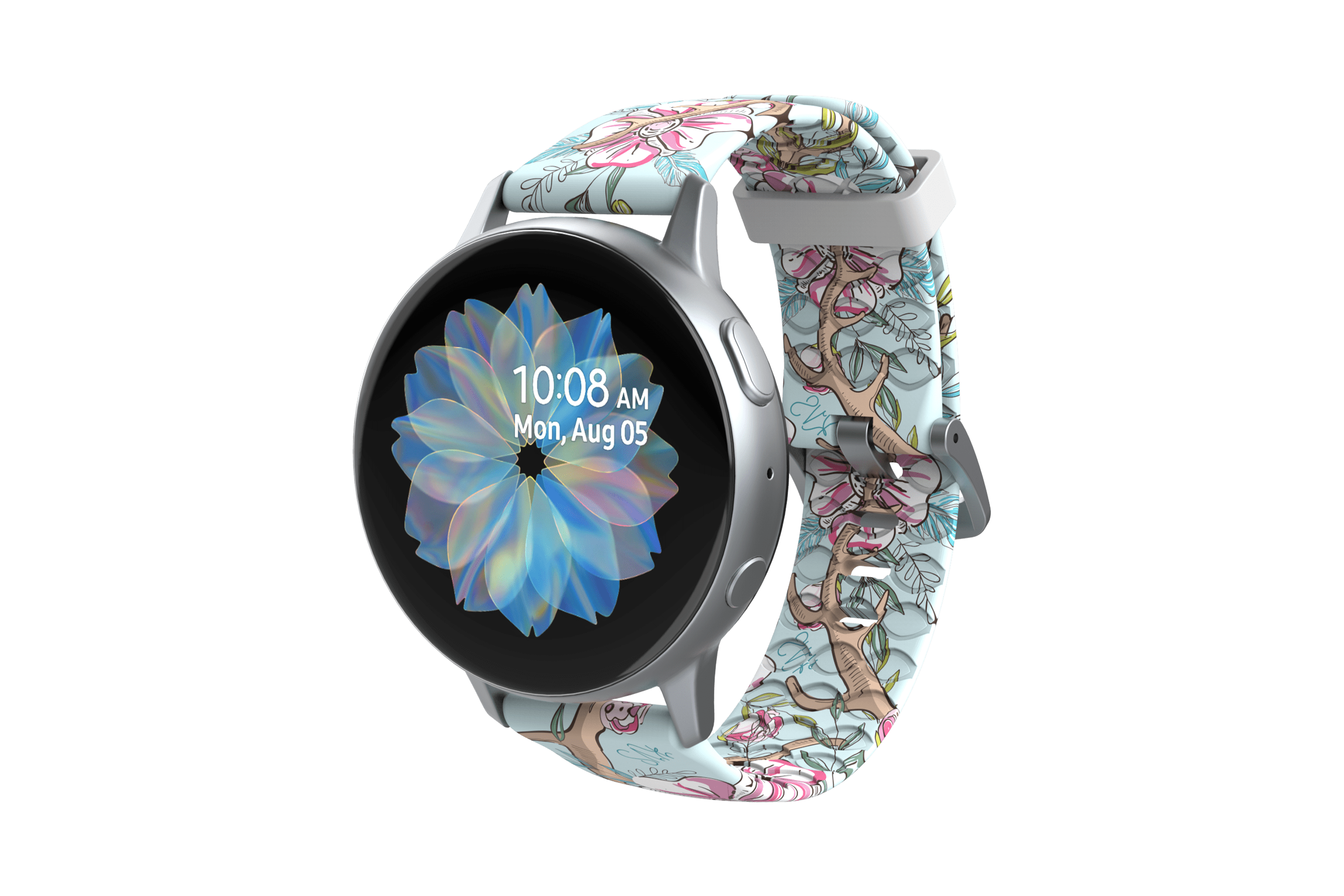 Love Deerly - Katie Van Slyke Samsung Watch Band with silver hardware viewed front on