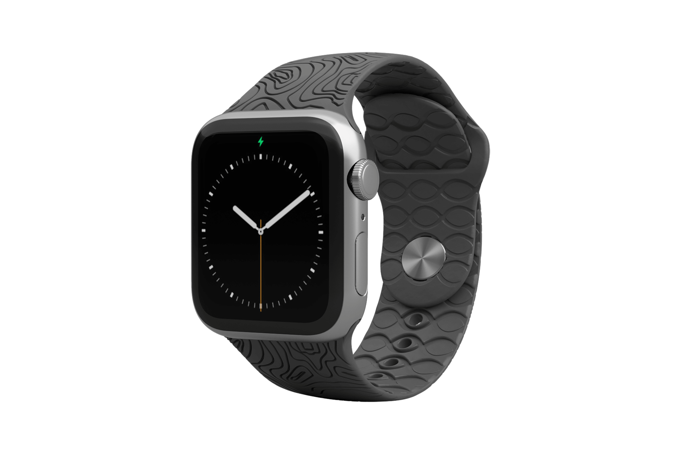Apple Watch Band Dimension Topo Deep Stone Grey with silver hardware viewed front on