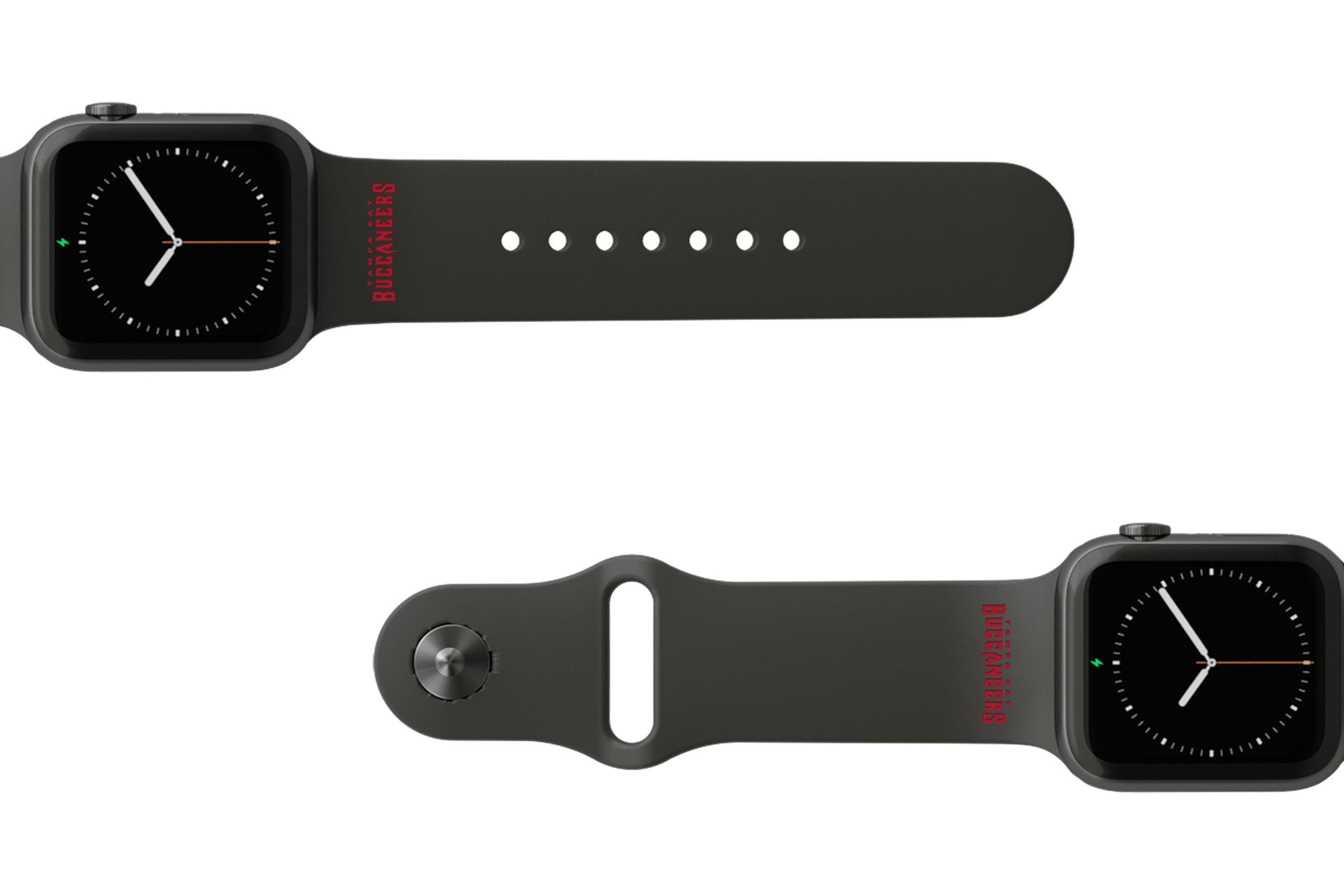 NFL Tampa Bay Buccaneers Black apple watch band with gray hardware viewed from top down