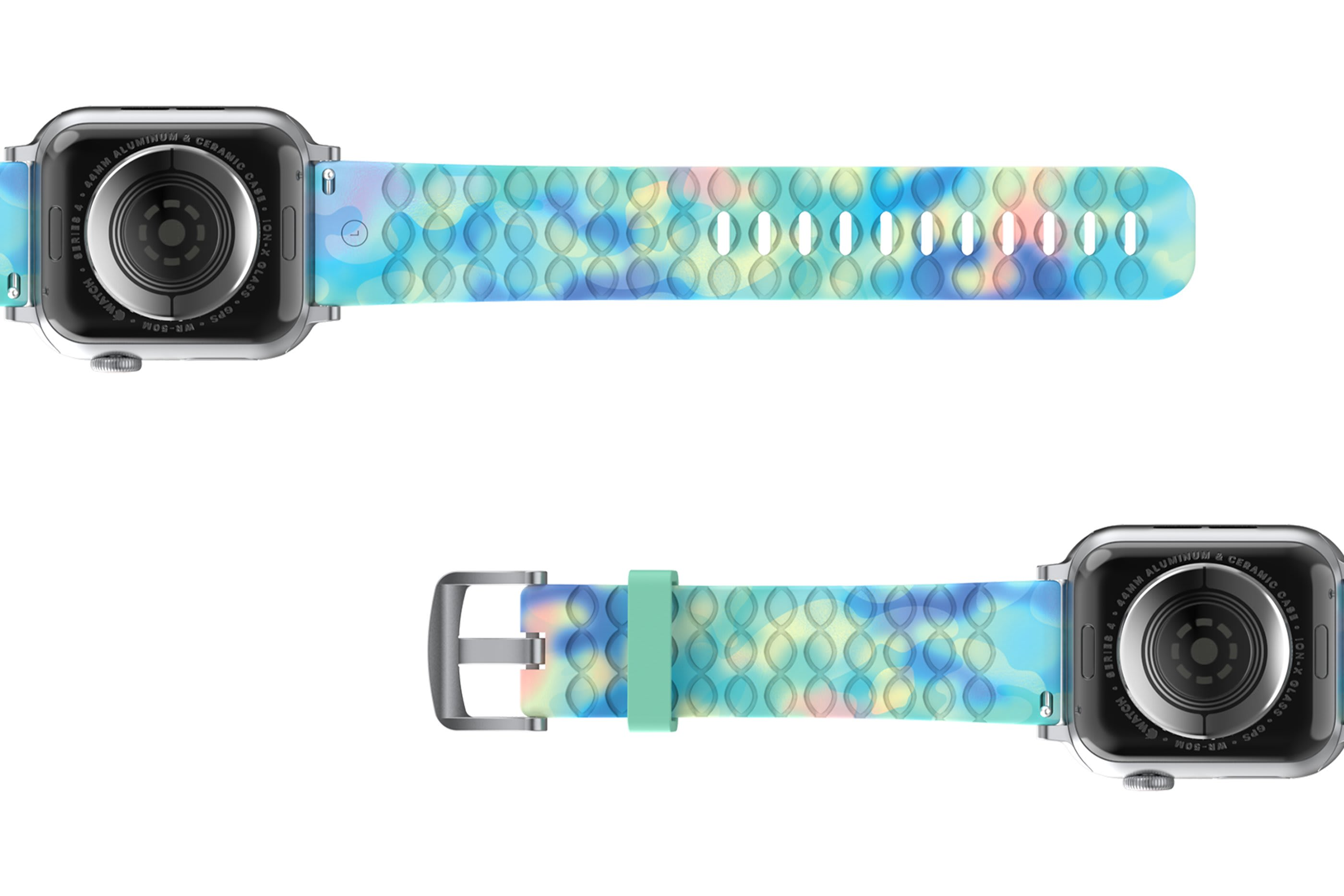 Opal - Apple   watch band with silver hardware viewed bottom up