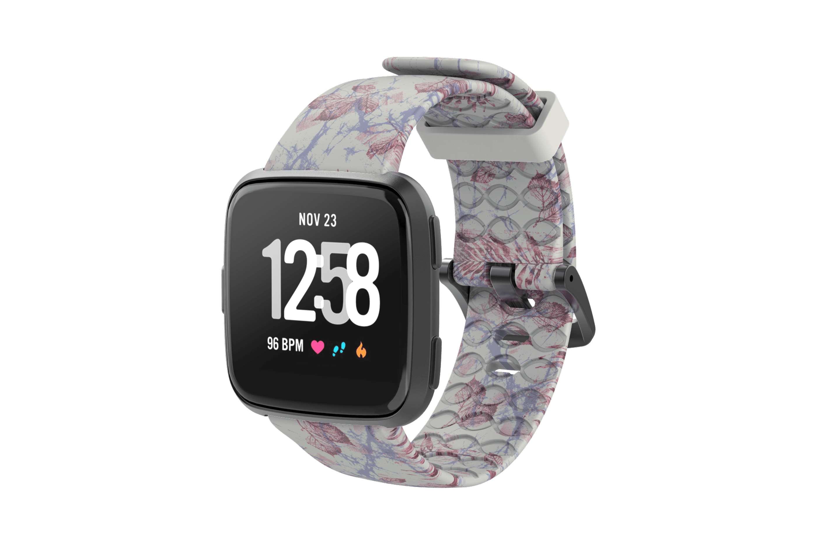 Breeze Fitbit Versa Watch Band with gray hardware viewed front on
