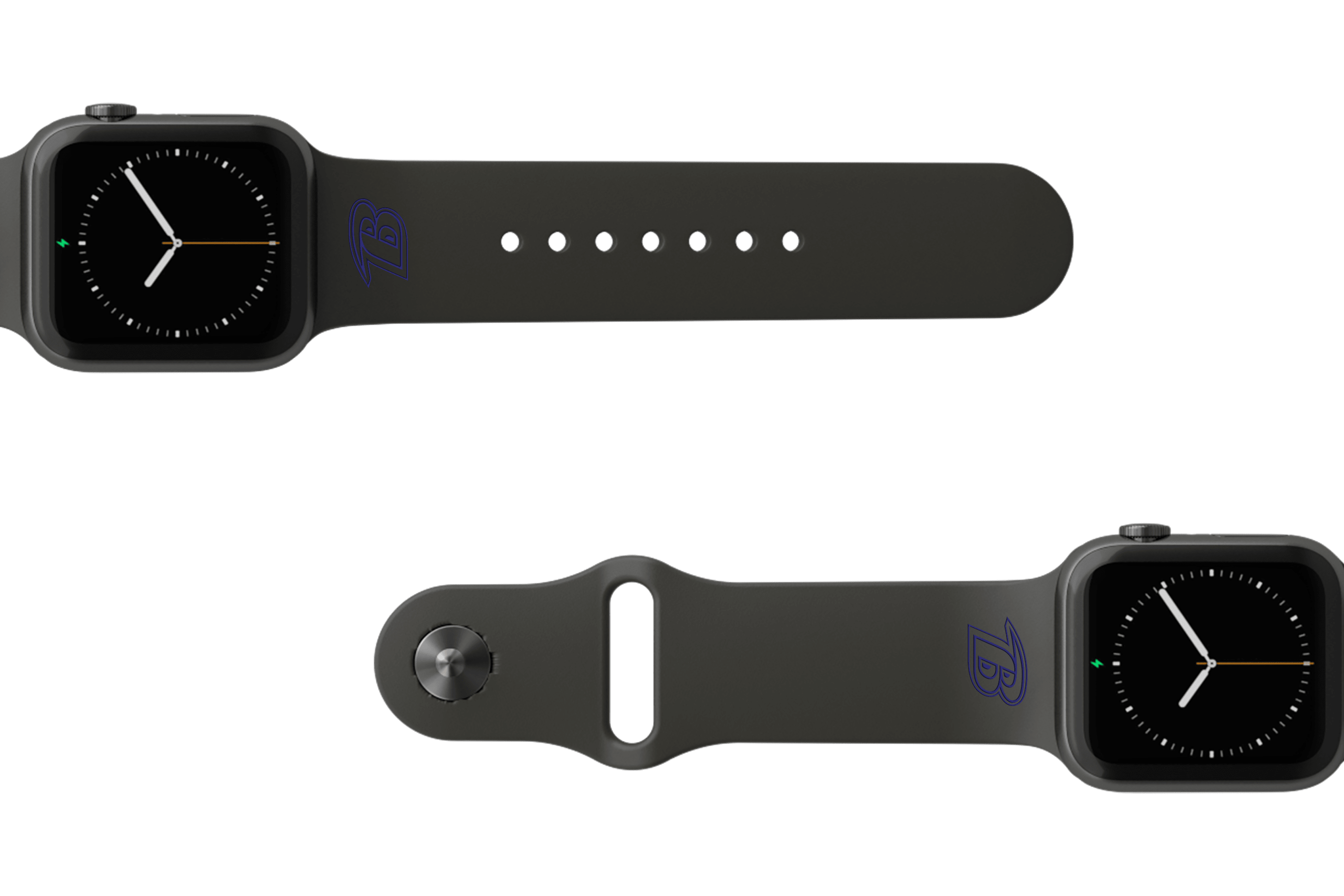 NFL Baltimore Ravens Black   apple watch band with gray hardware viewed from top down