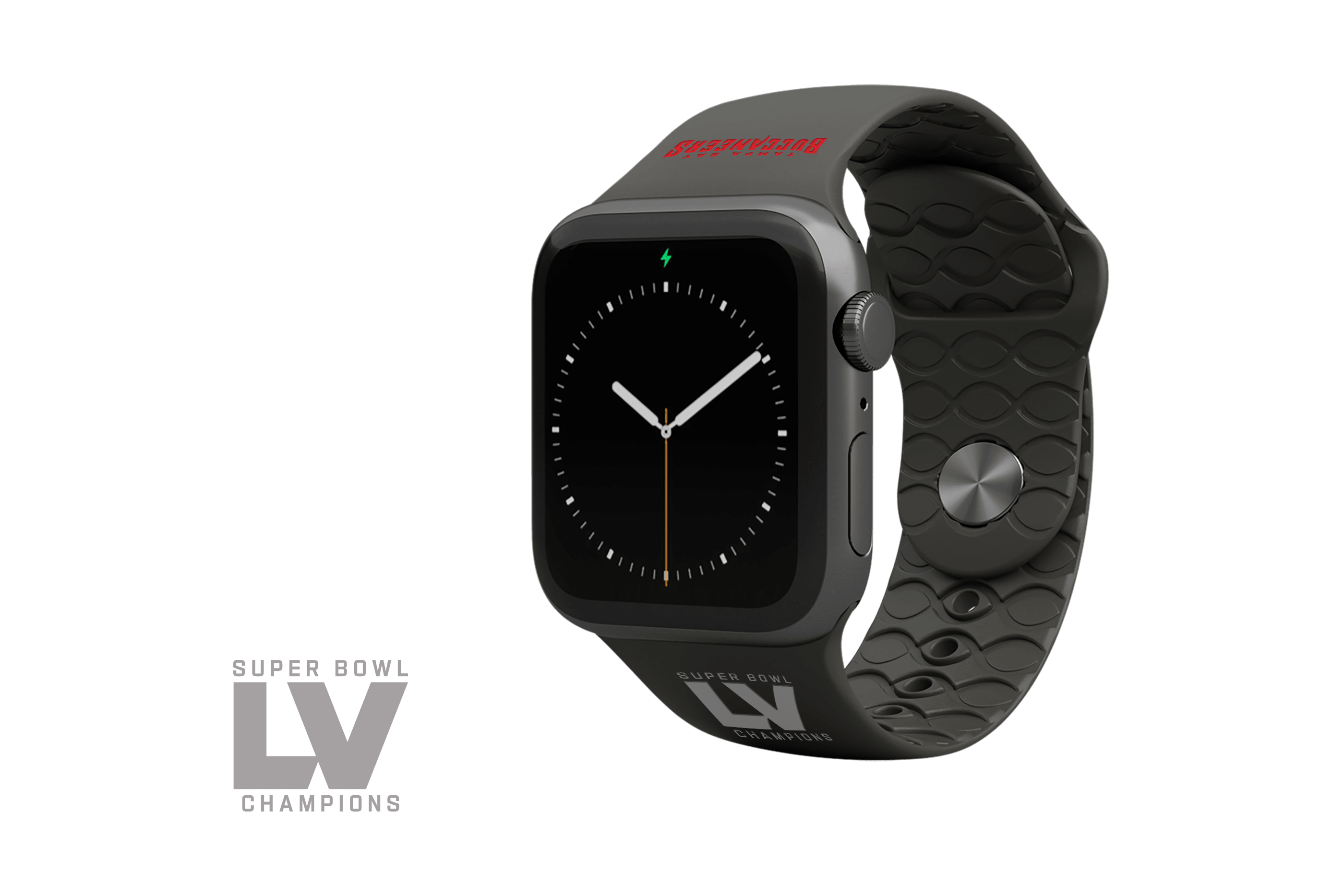 Limited Edition NFL Tampa Bay Buccaneers Super Bowl LV Fan Apple Watch Band with gray hardware viewed front on