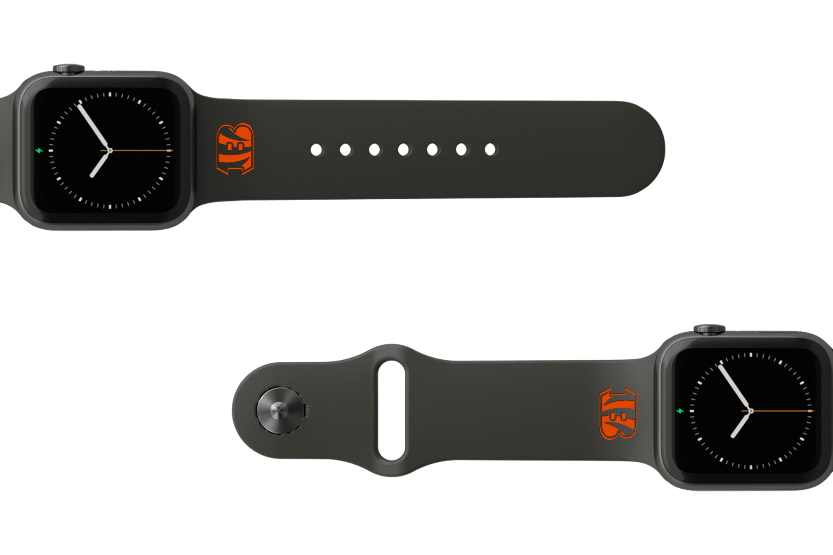 NFL Cincinnati Bengals Black   apple watch band with gray hardware viewed from top down
