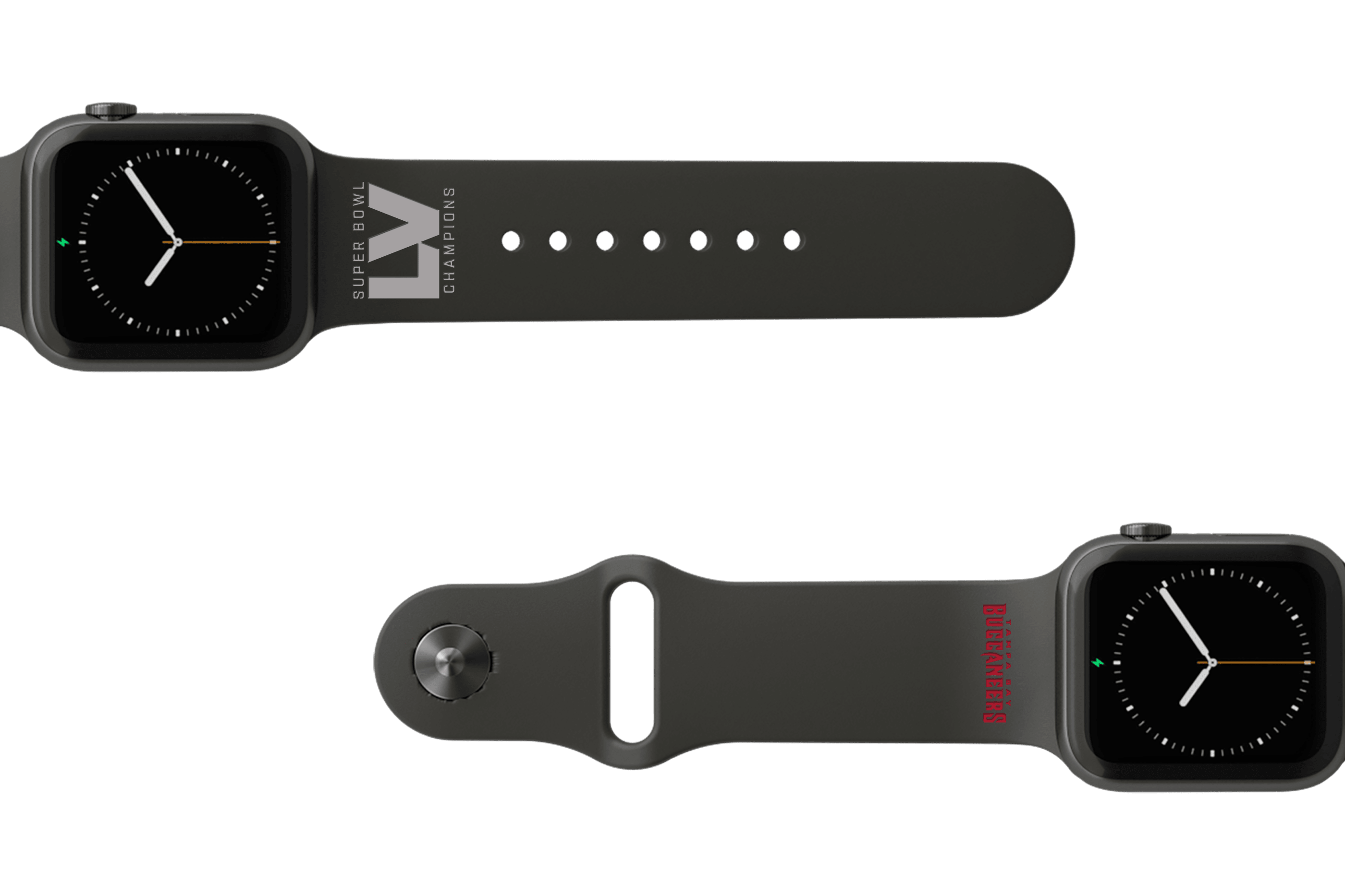 Limited Edition NFL Tampa Bay Buccaneers Super Bowl LV Fan Apple watch band viewed top down