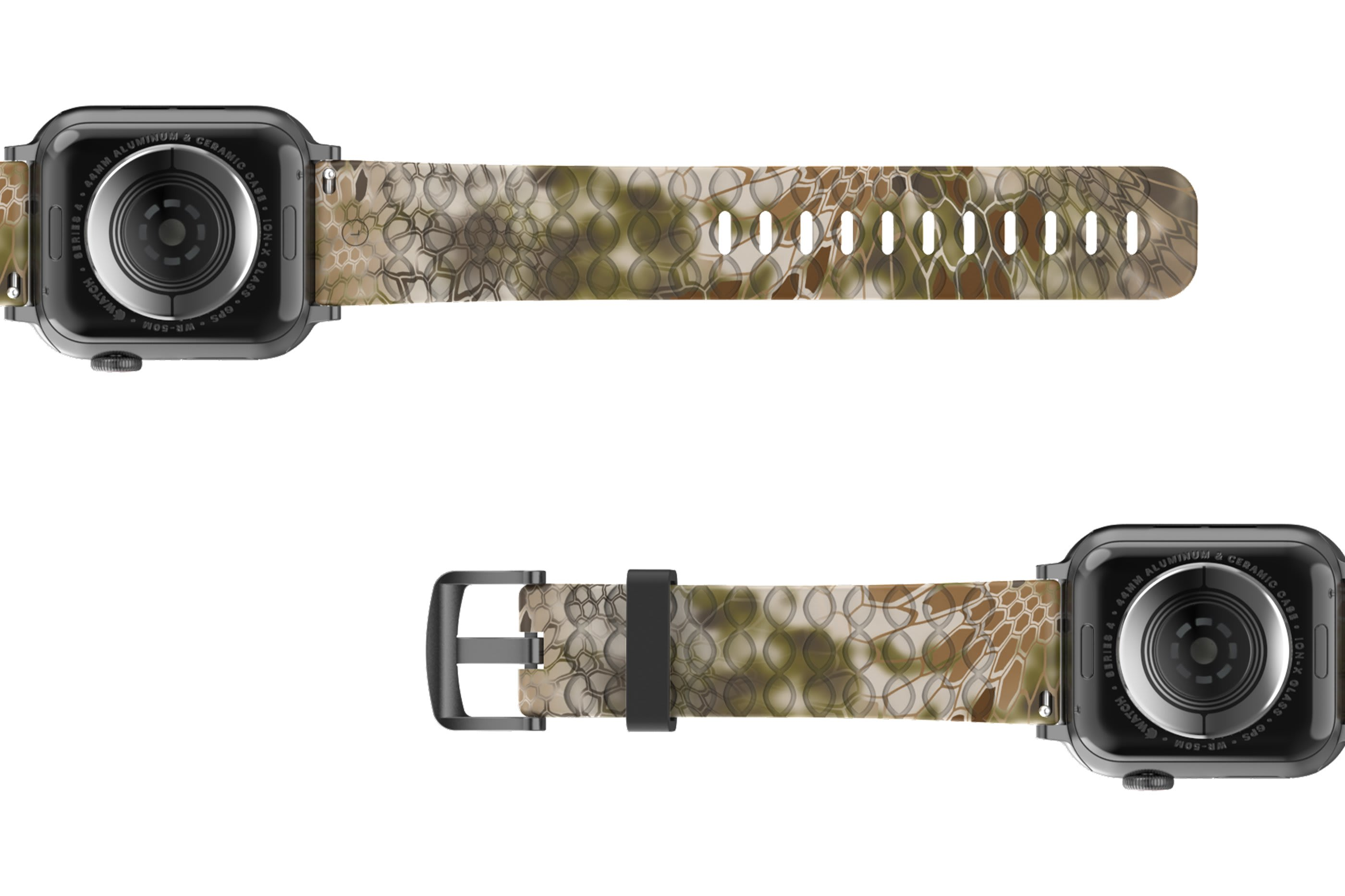 Kryptek Highlander  Apple Watch Band with gray hardware viewed bottom up