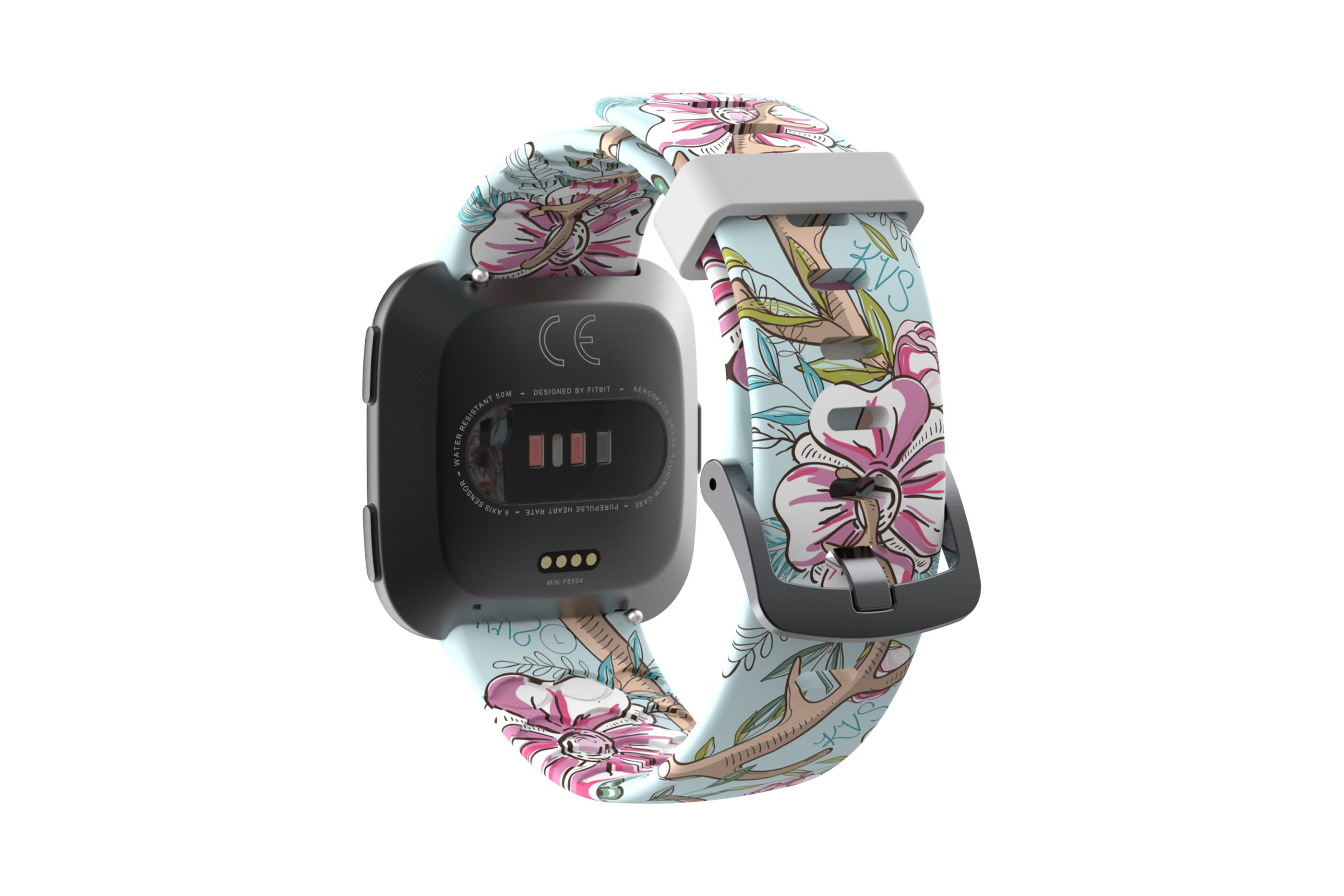 Love Deerly - Katie Van Slyke  fitbit watch band with gray hardware viewed from rear
