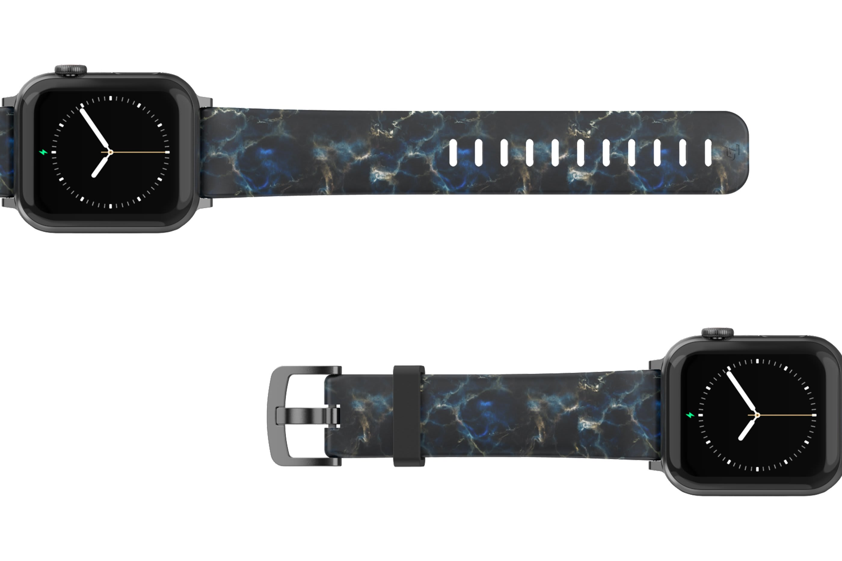 Nomad Rapids Apple Watch Band with gray hardware viewed top down
