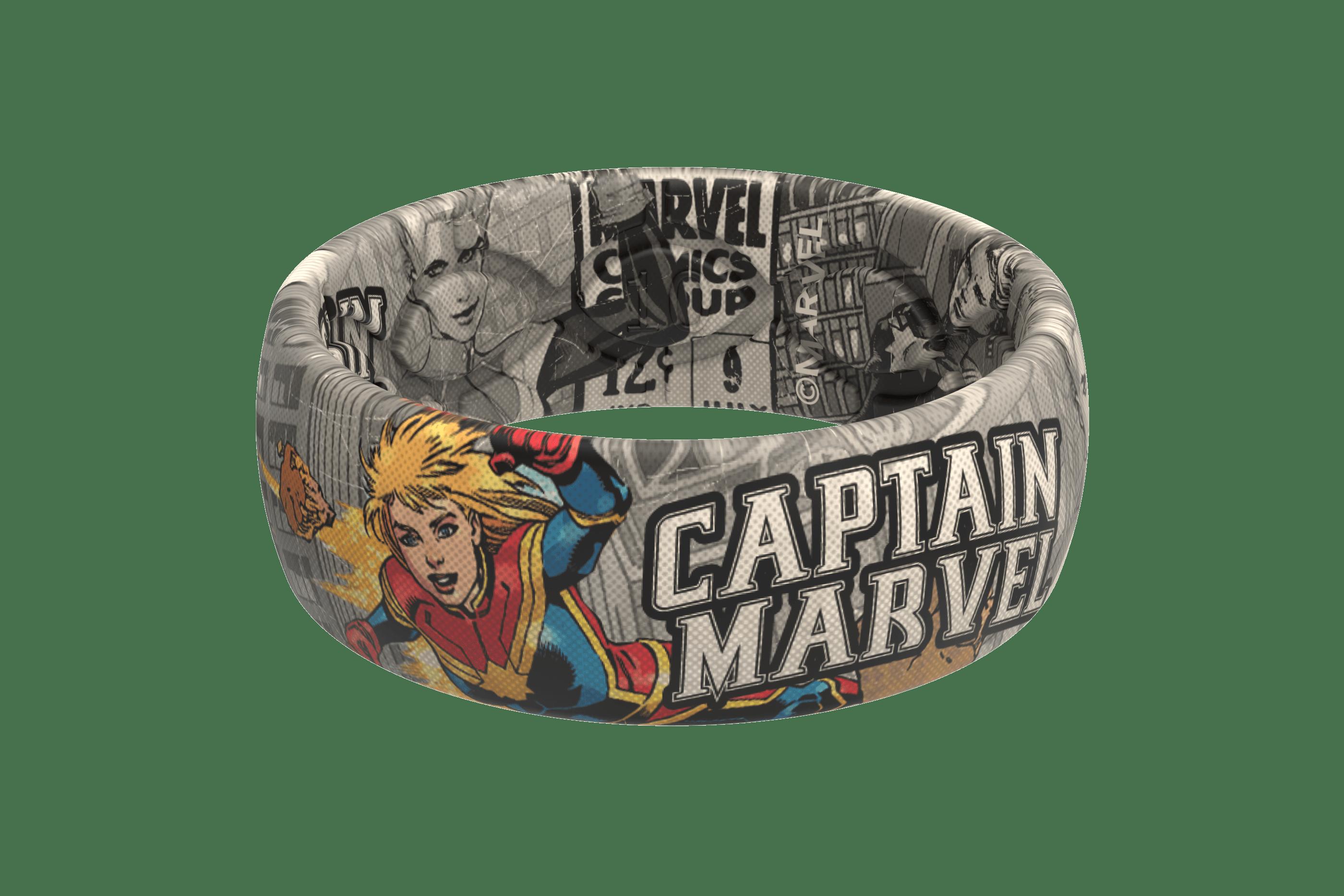 Captain Marvel Black And White Comic Ring | Groove Life