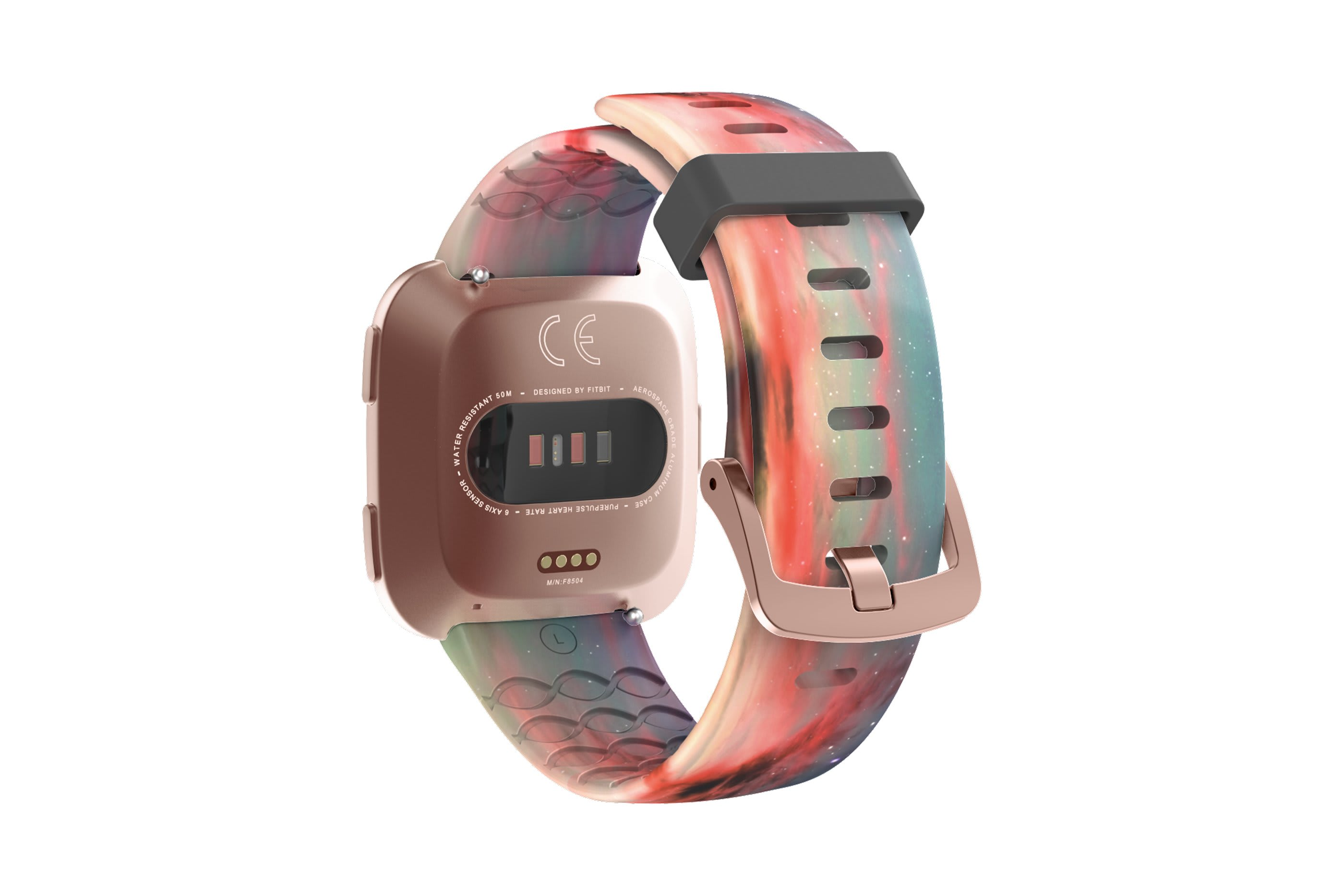 Cirrus fitbit versa watch band with rose gold hardware viewed from top down