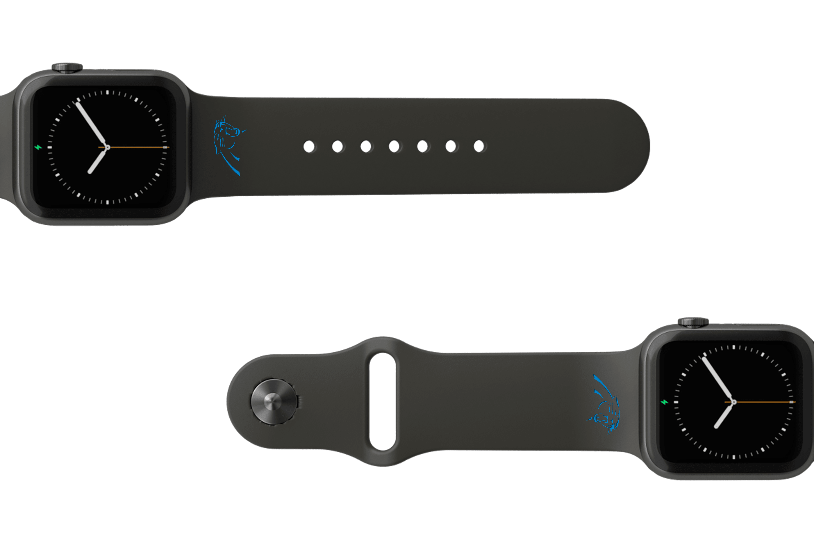 NFL Carolina Panthers Black   apple watch band with gray hardware viewed from top down
