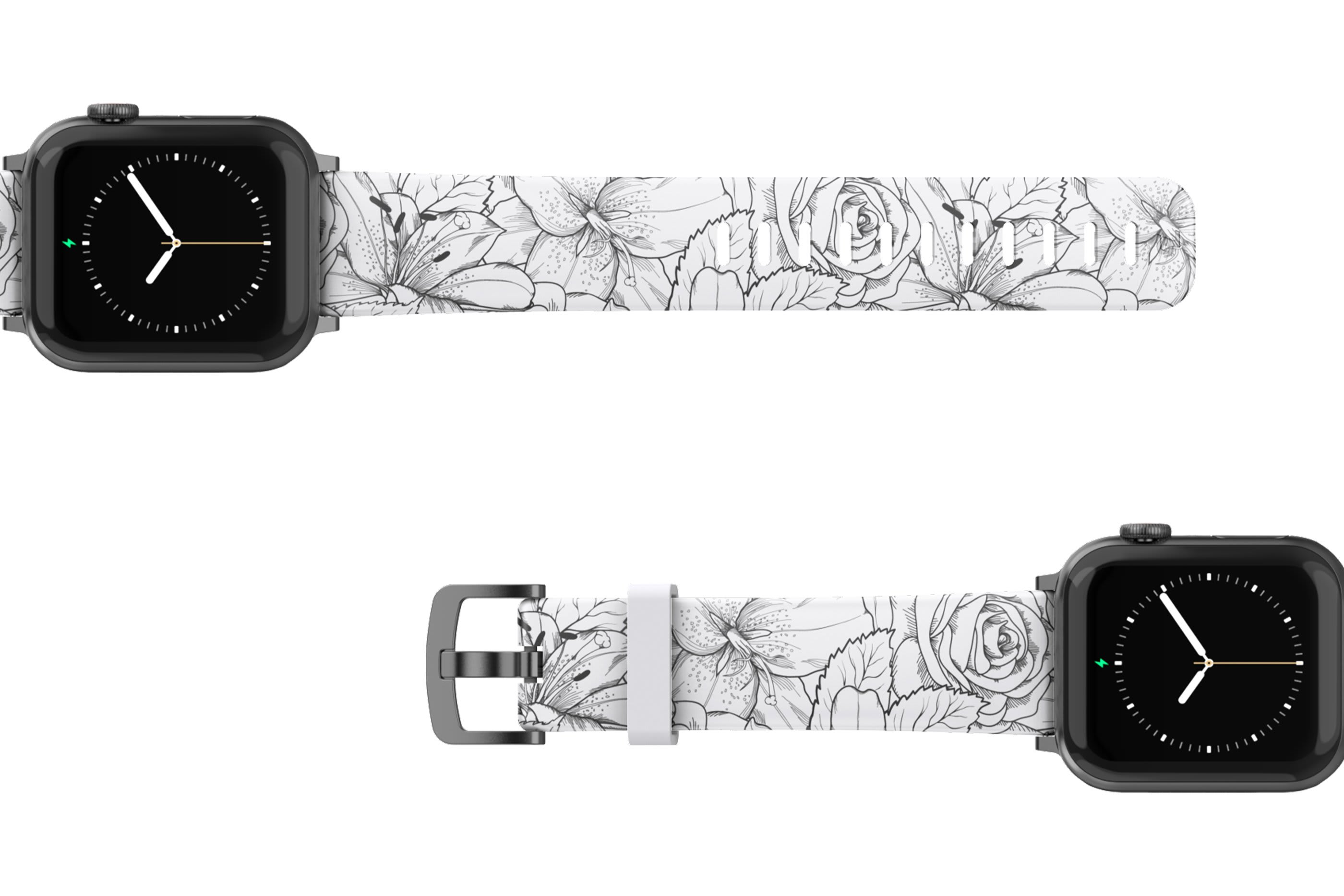 Winter Rose Apple Watch Band with gray hardware viewed top down