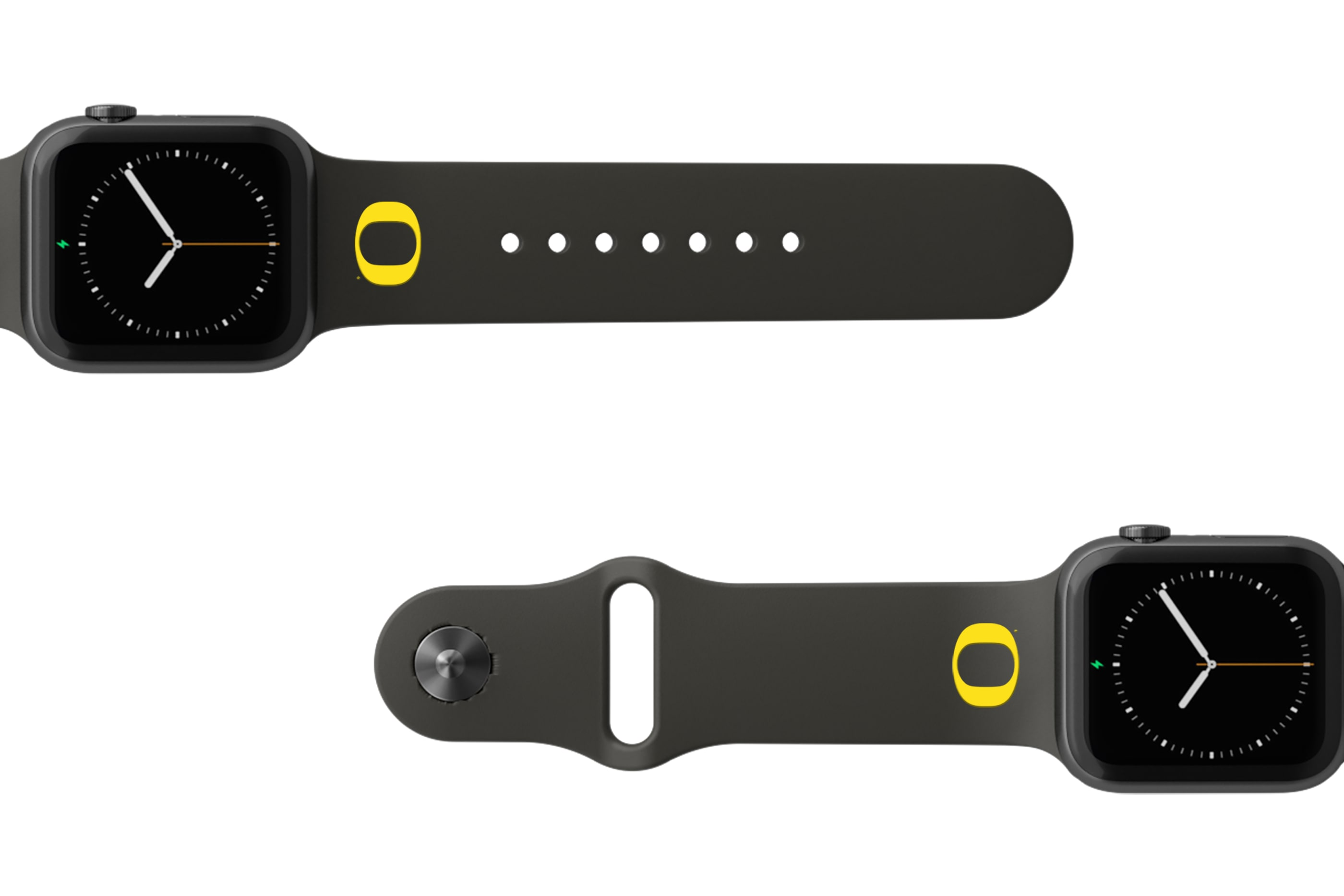 College Oregon Black apple watch band with gray hardware viewed from rear