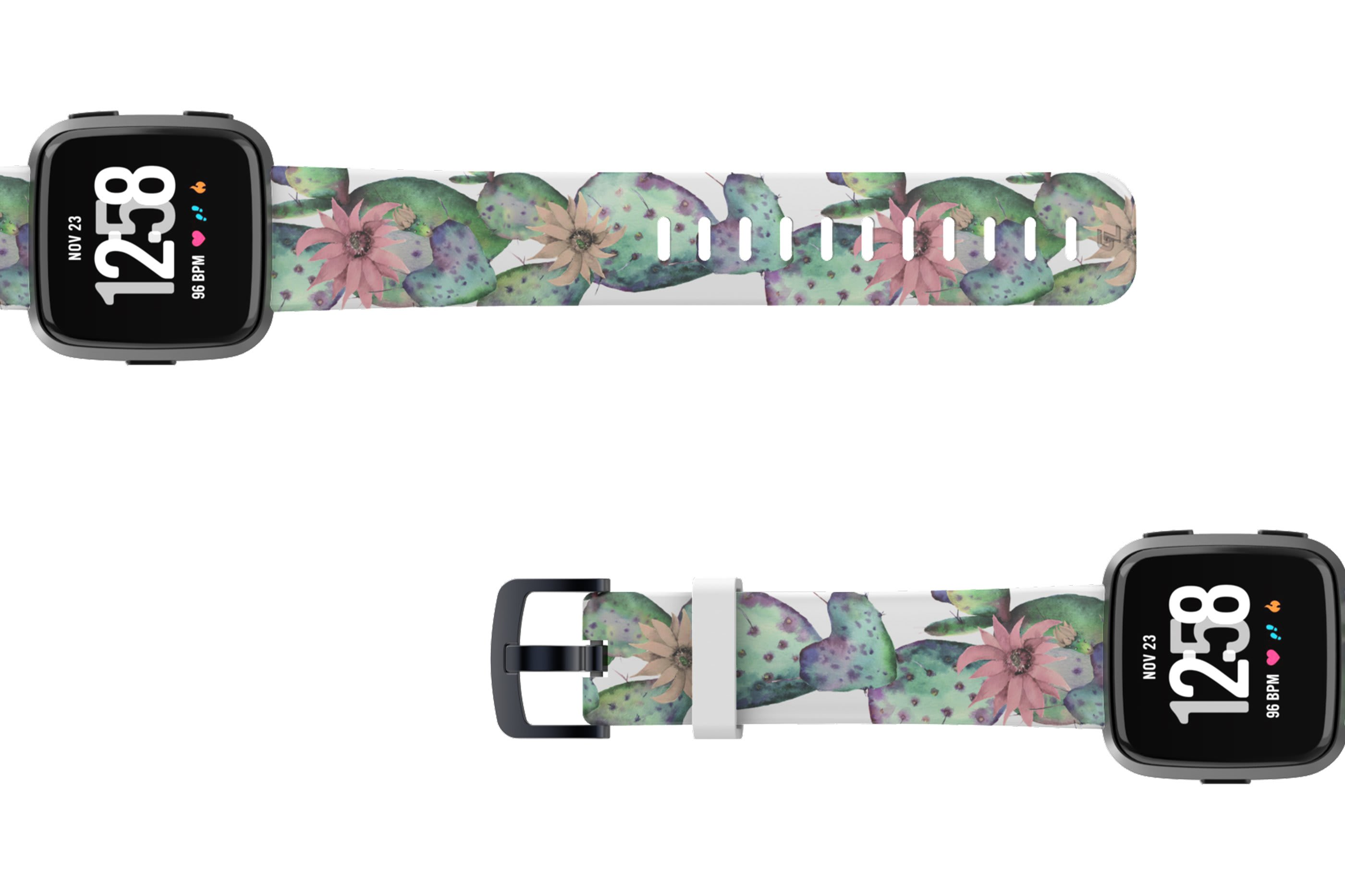 Cactus Bloom Fitbit Versa watch band with rose gold hardware viewed top down