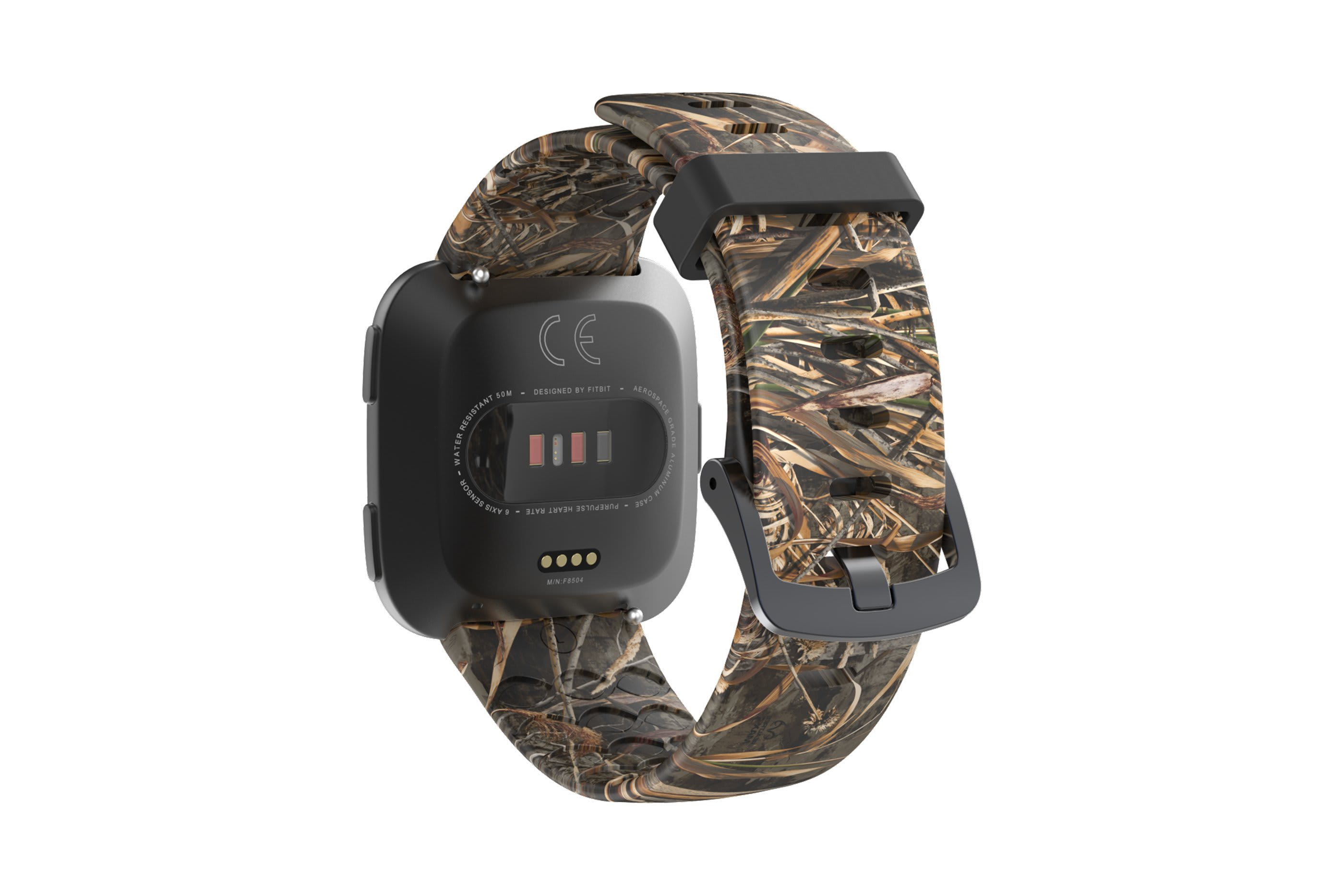 Realtree Max 5 fitbit versa watch band with gray hardware viewed from top down
