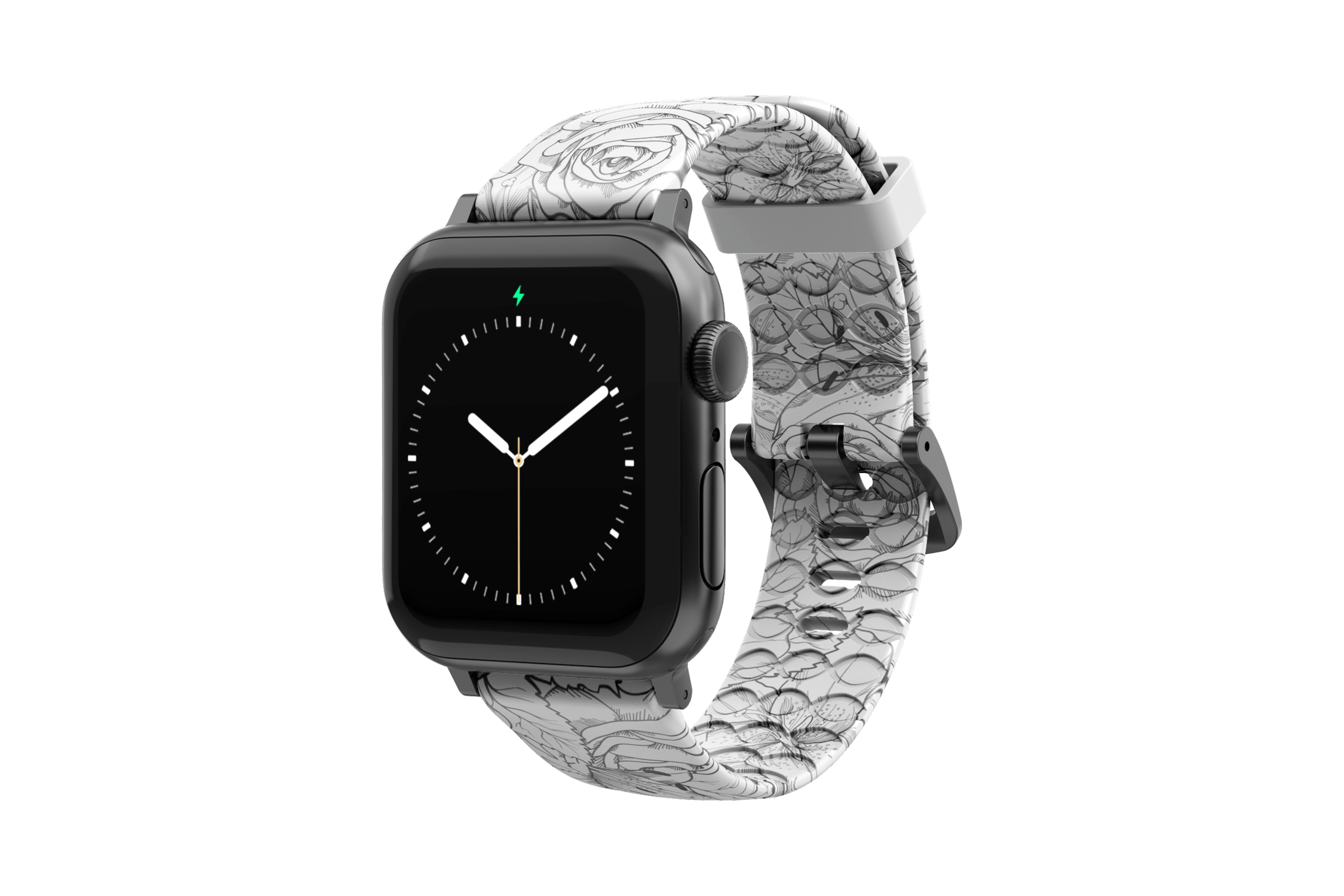 Winter Rose Apple Watch Band with gray hardware viewed front on