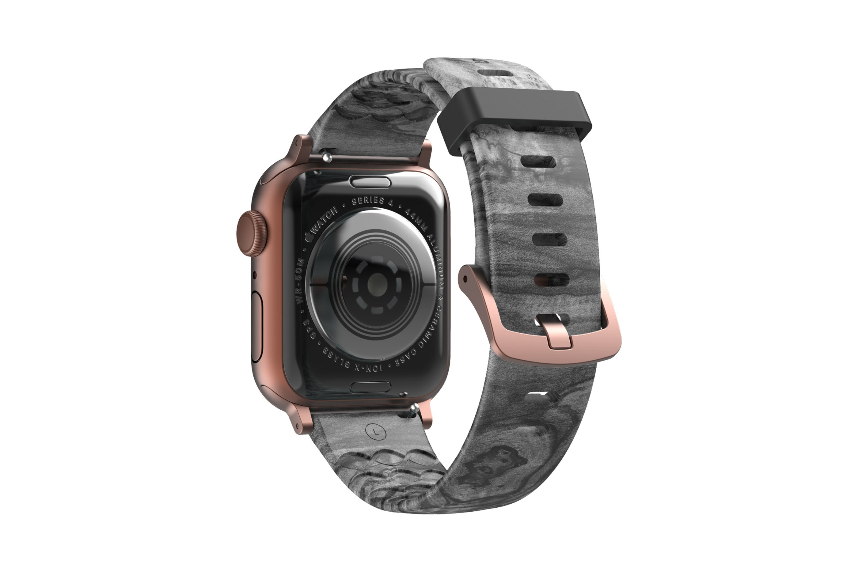 Nomad Relic Apple Watch band with rose gold hardware viewed from rear