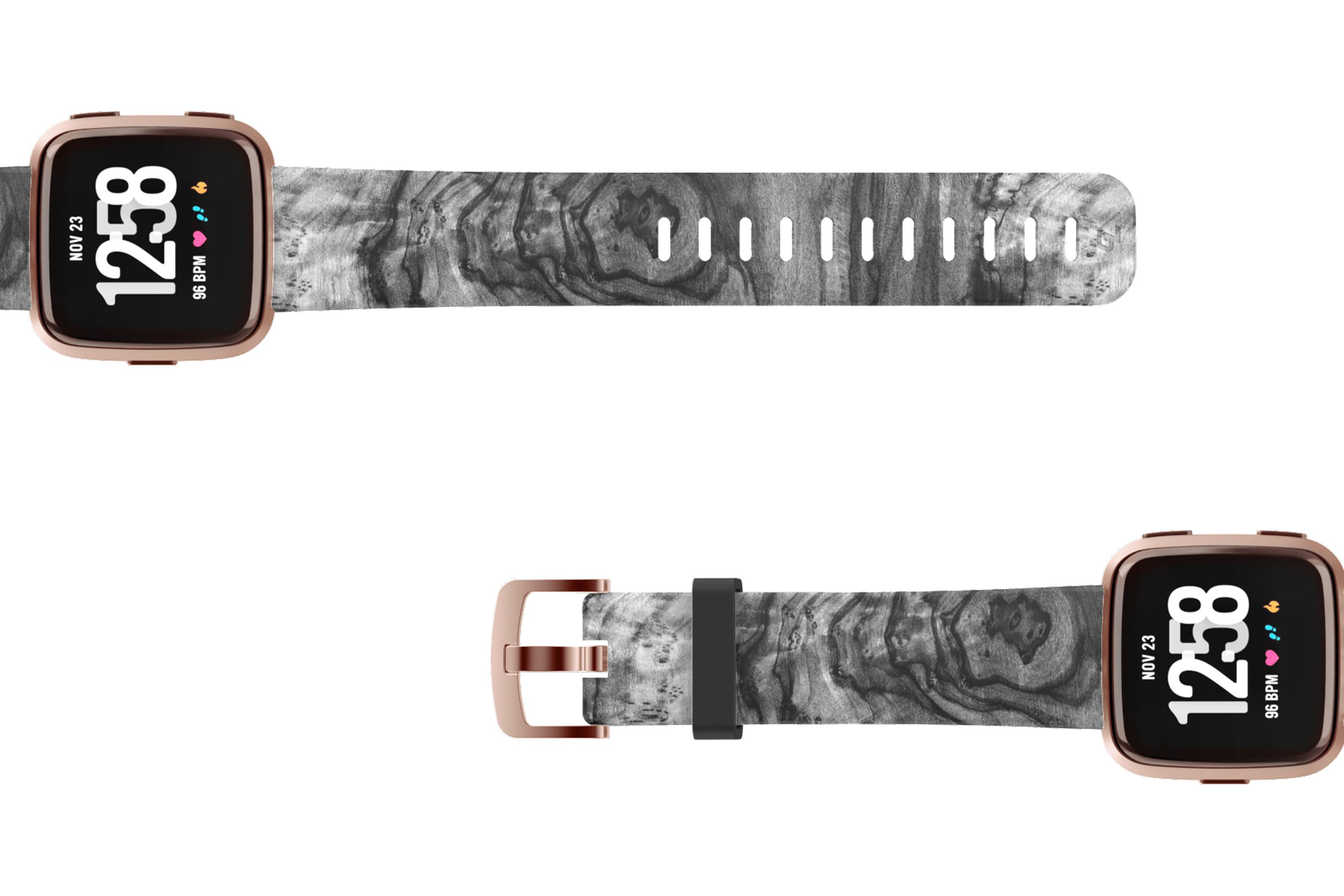 Nomad Relic Fitbit Versa watch band with rose gold hardware viewed top down