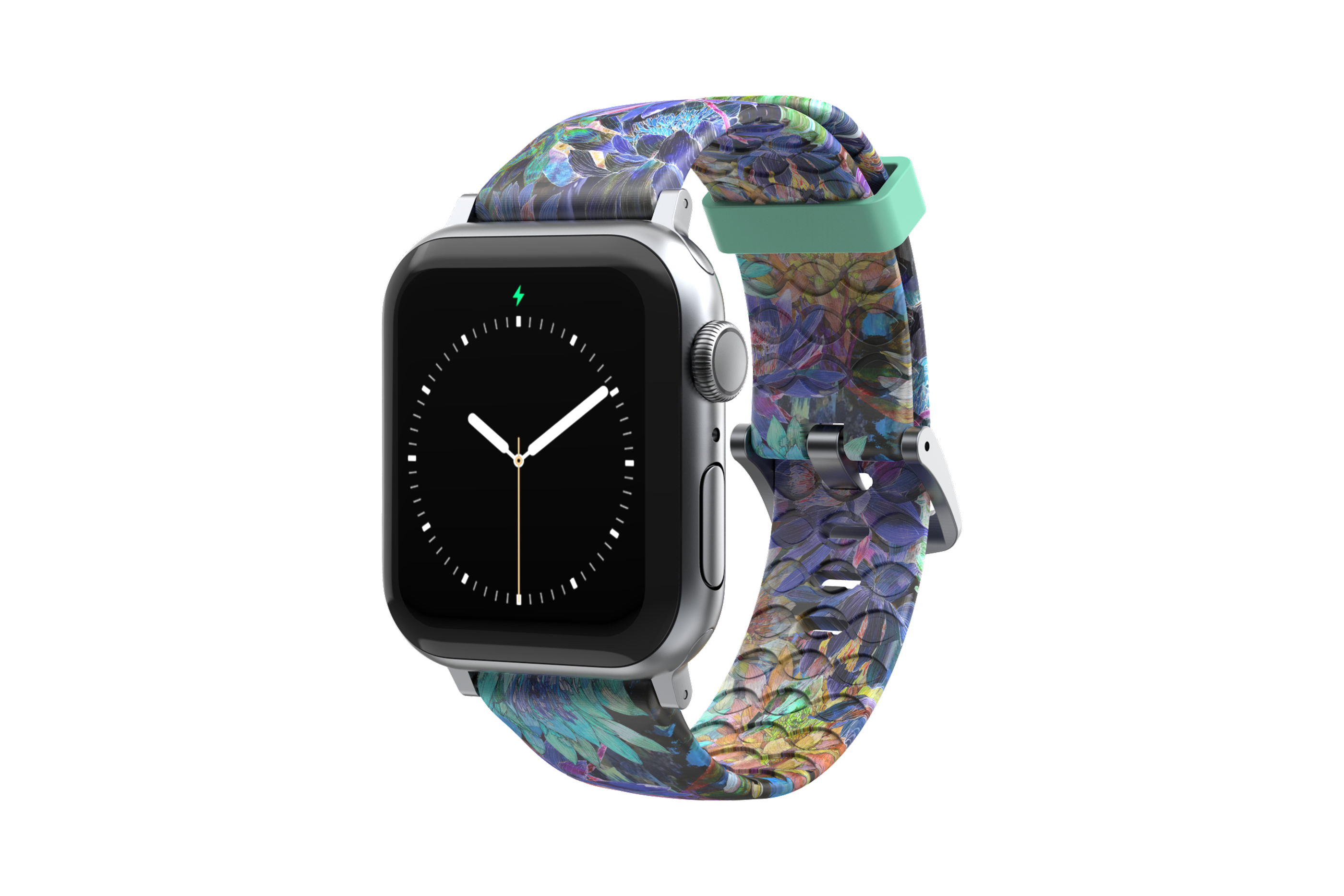 Twilight Blossom - Apple Watch Band with silver hardware viewed front on
