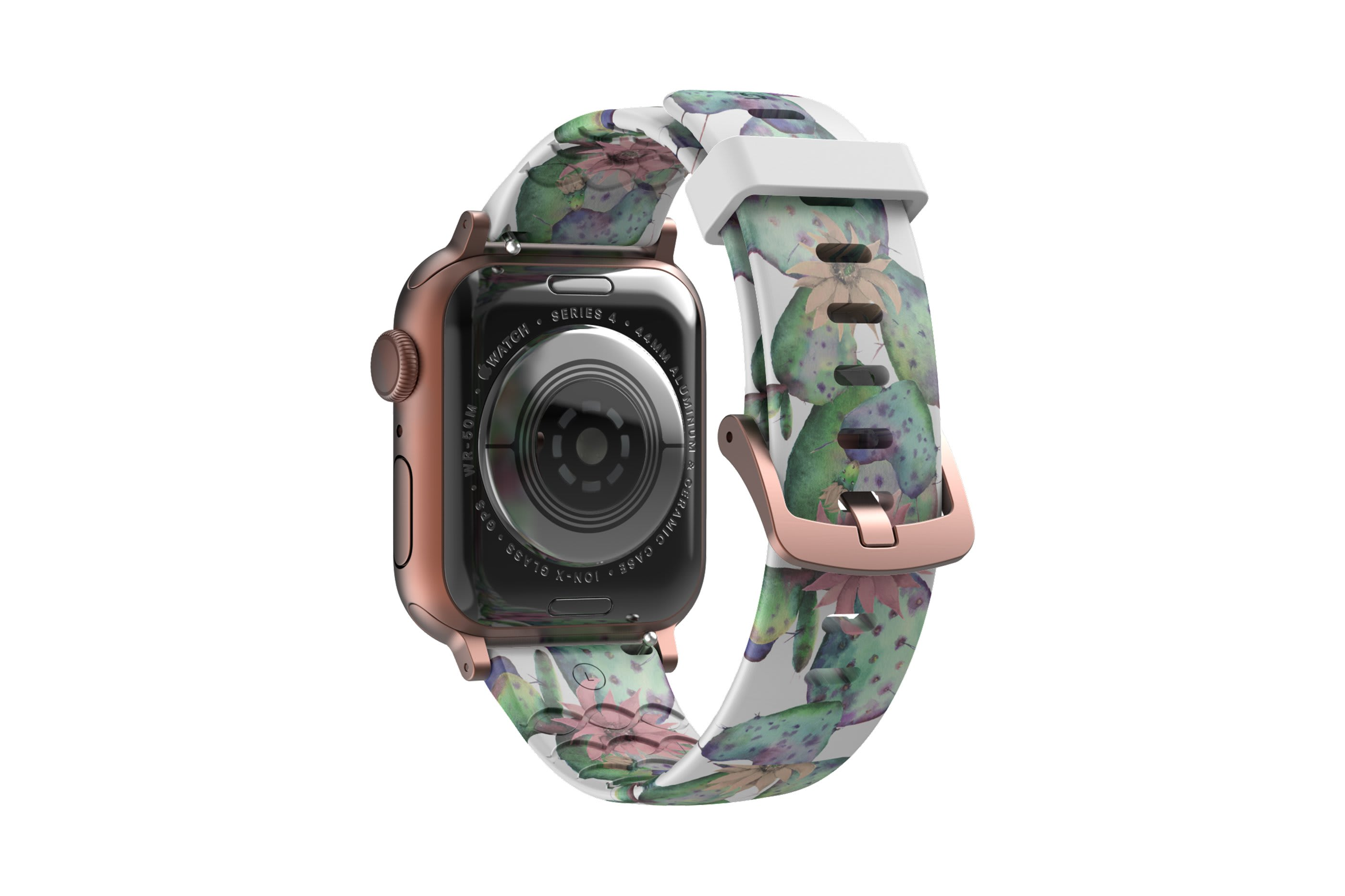 Cactus Bloom Apple Watch Band with rose gold hardware viewed from top down
