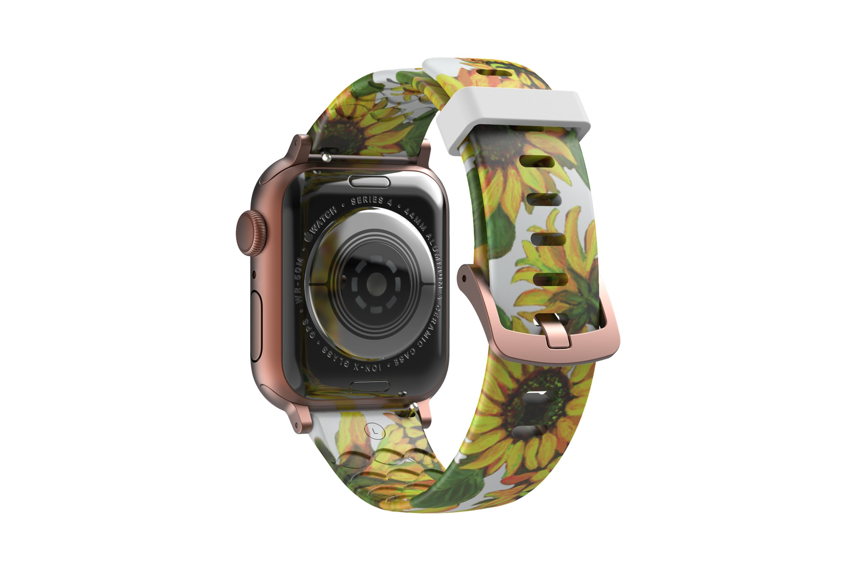 Sunflower Apple Watch Band with rose gold hardware viewed from top down
