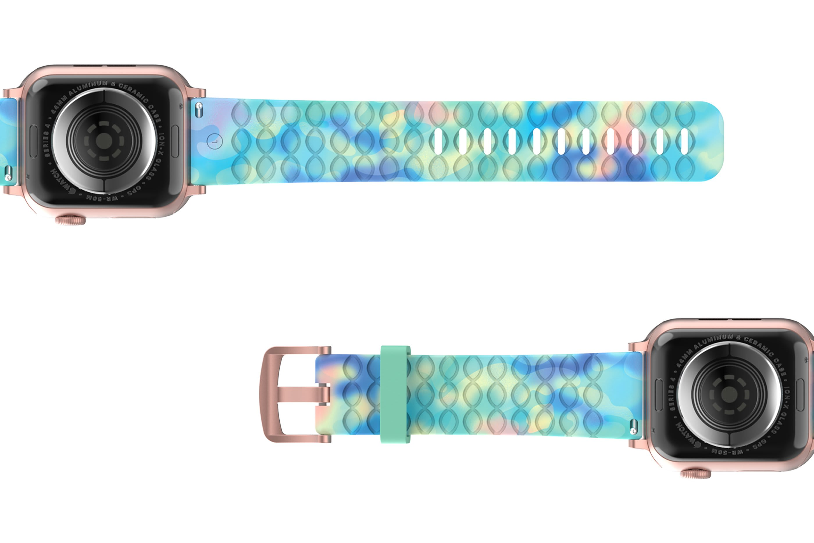 Opal - Apple   watch band with rose gold hardware viewed bottom up