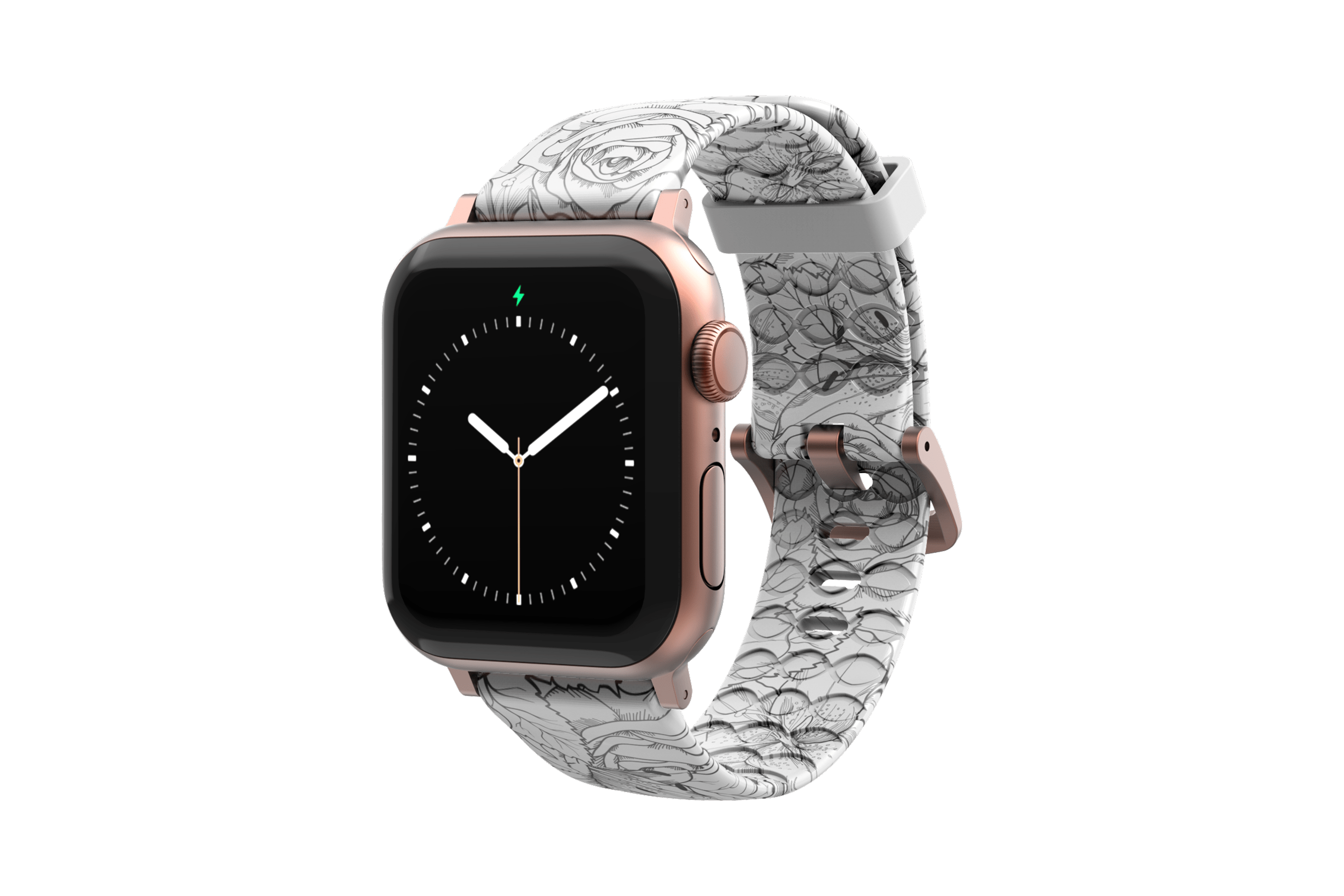 Winter Rose Apple Watch Band with rose gold hardware viewed front on