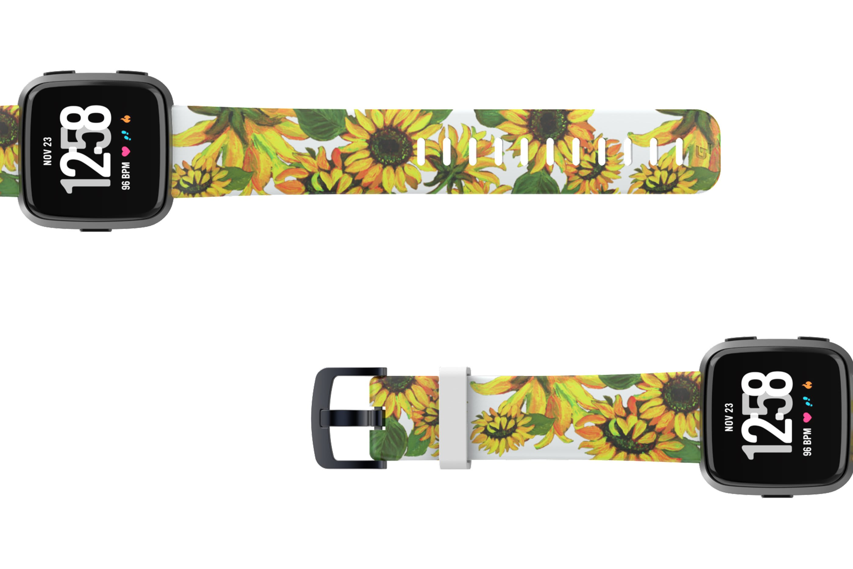 Sunflower Fitbit Versa watch band with gray hardware viewed top down