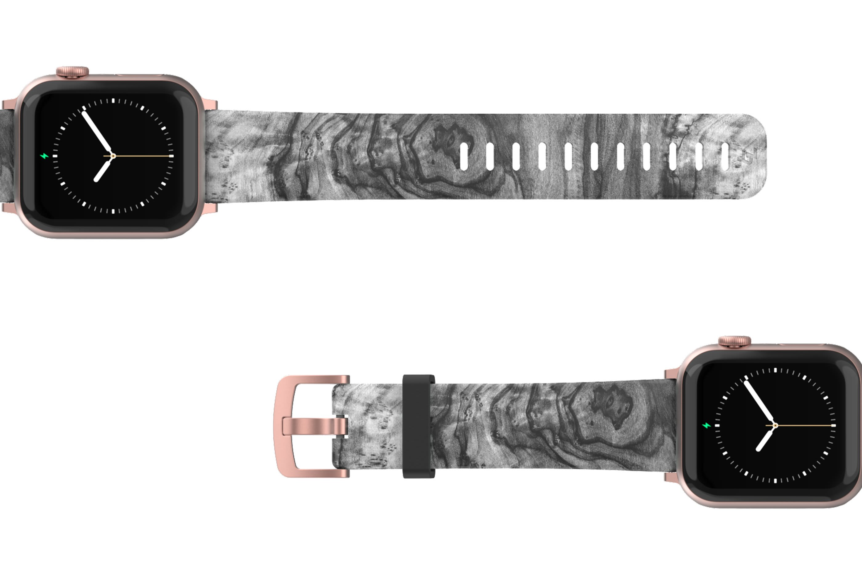 Nomad Relic Apple Watch Band with rose gold hardware viewed top down