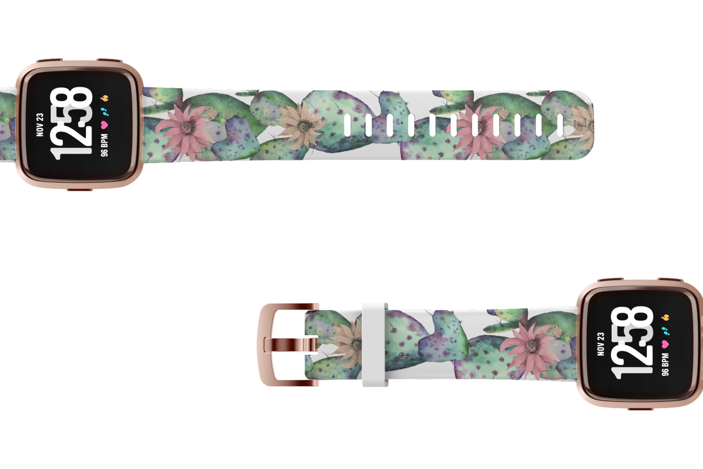 Cactus Bloom Fitbit Versa watch band with gray hardware viewed top down