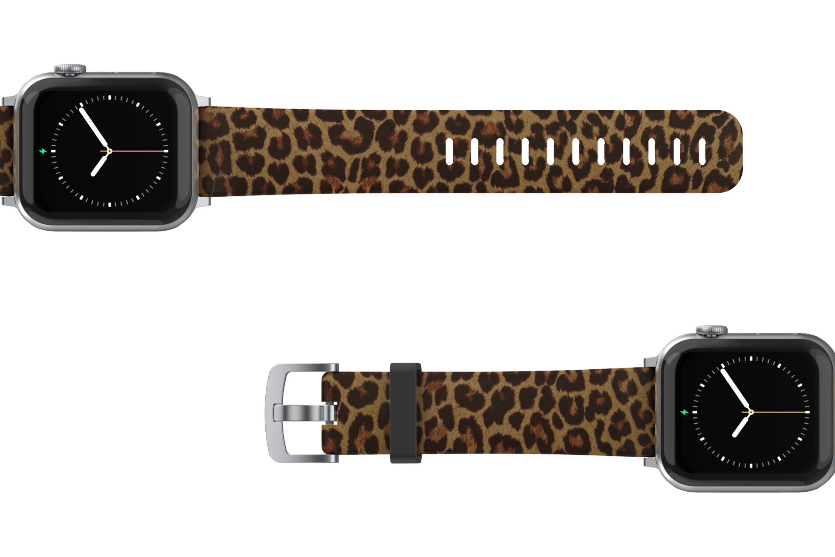 Leopard Apple Watch Band with silver hardware viewed top down
