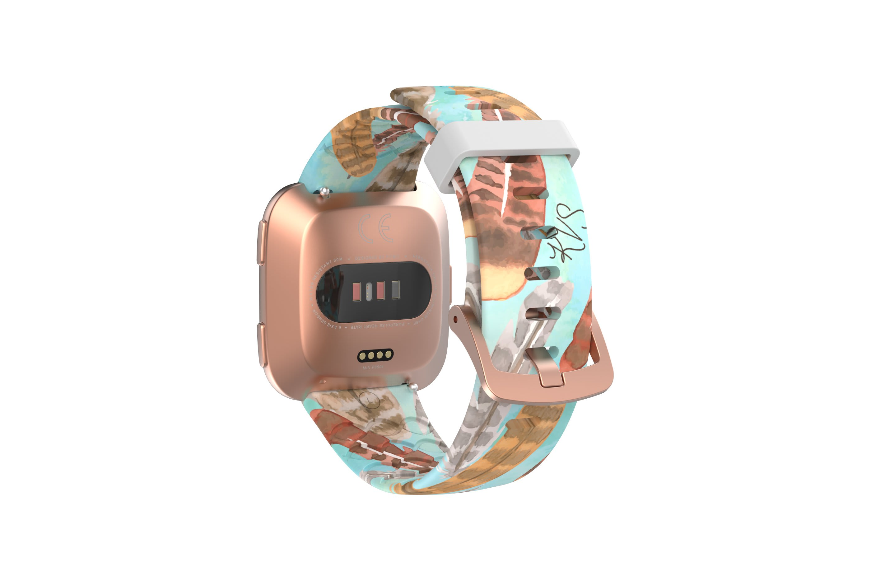 Brave - Katie Van Slyke fitbit versa watch band with rose gold hardware viewed from top down